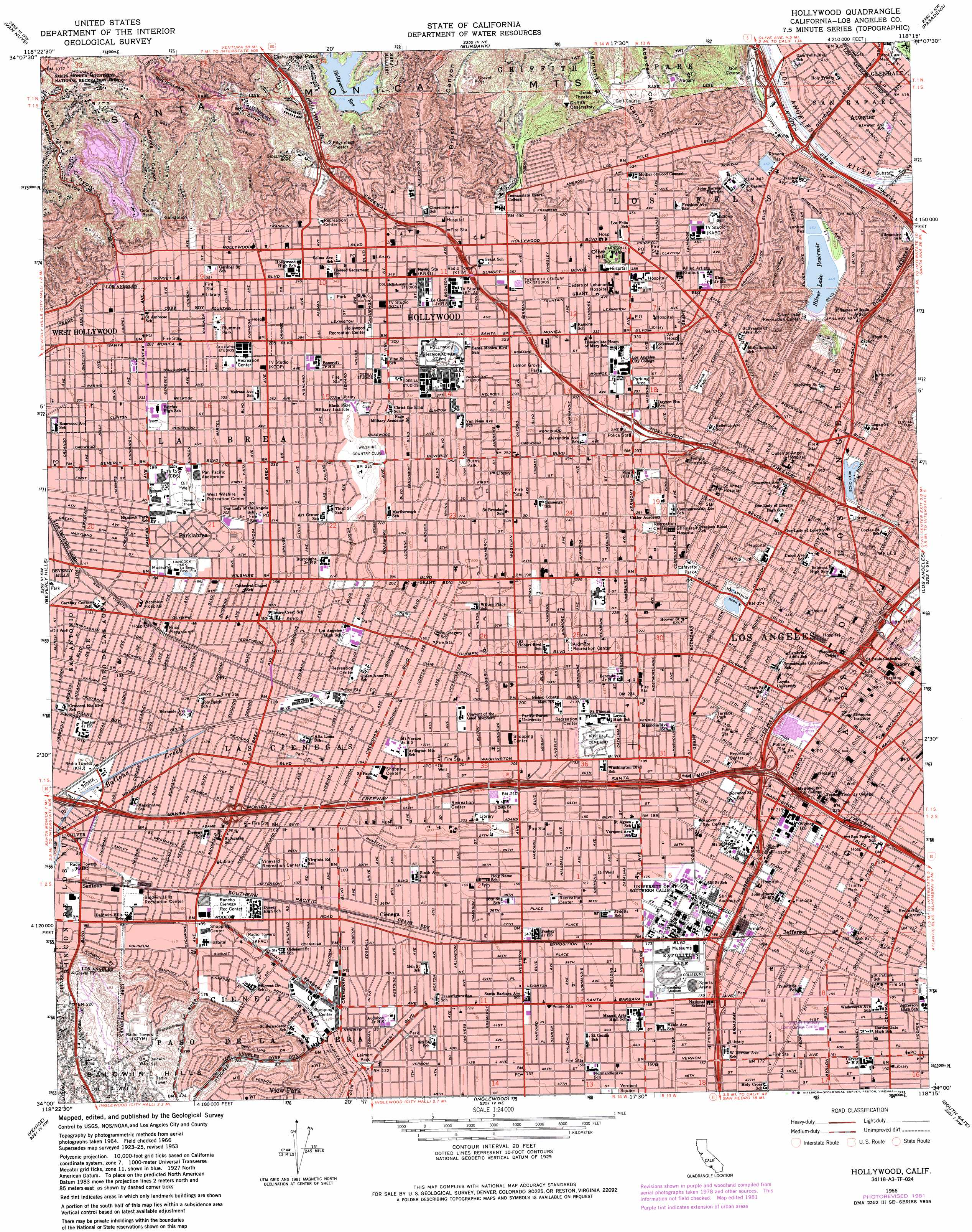 Hollywood topographic map CA USGS Topo Quad 34118a3