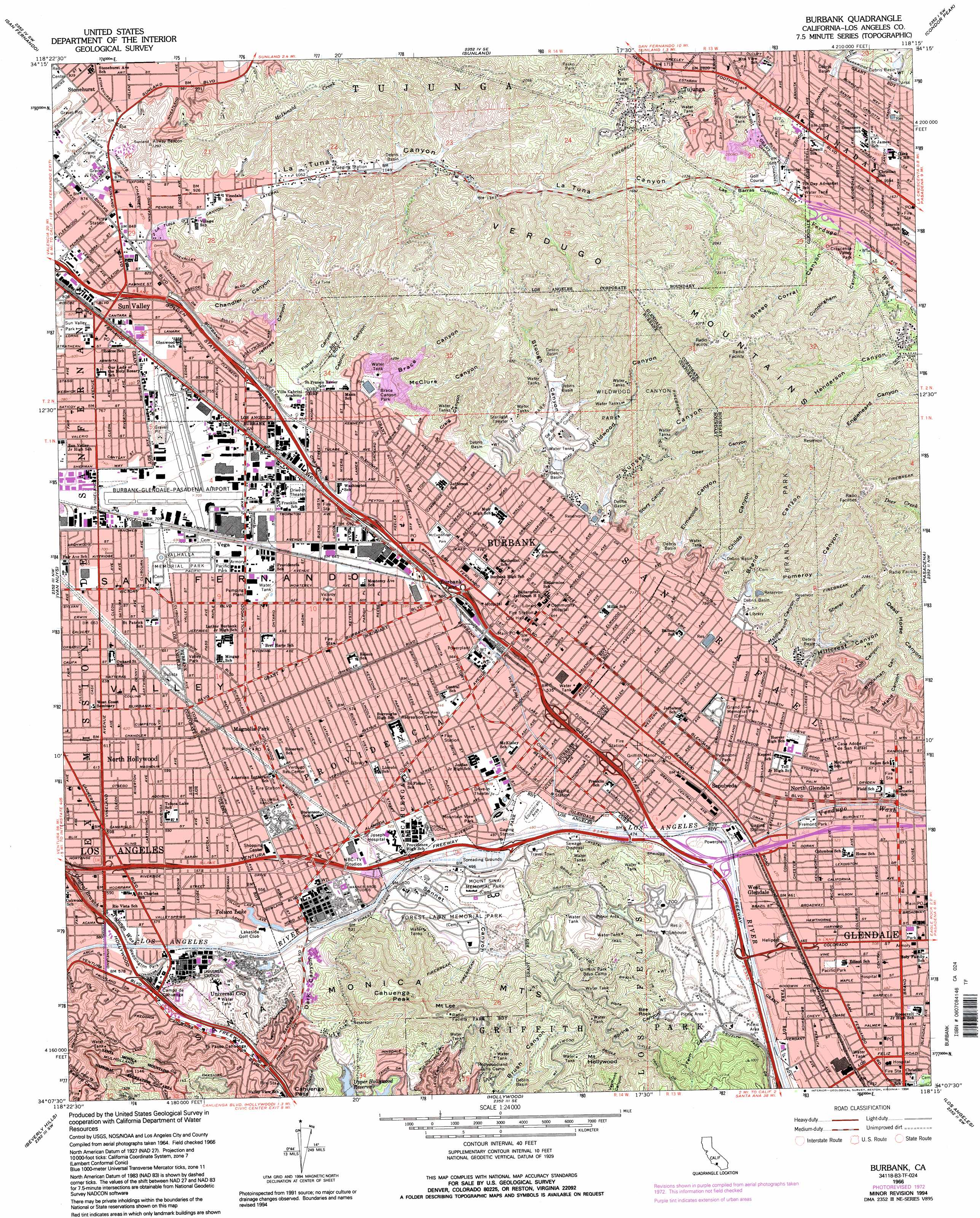Burbank Topographic Map CA USGS Topo Quad B - Us geological survey topographic maps for sale