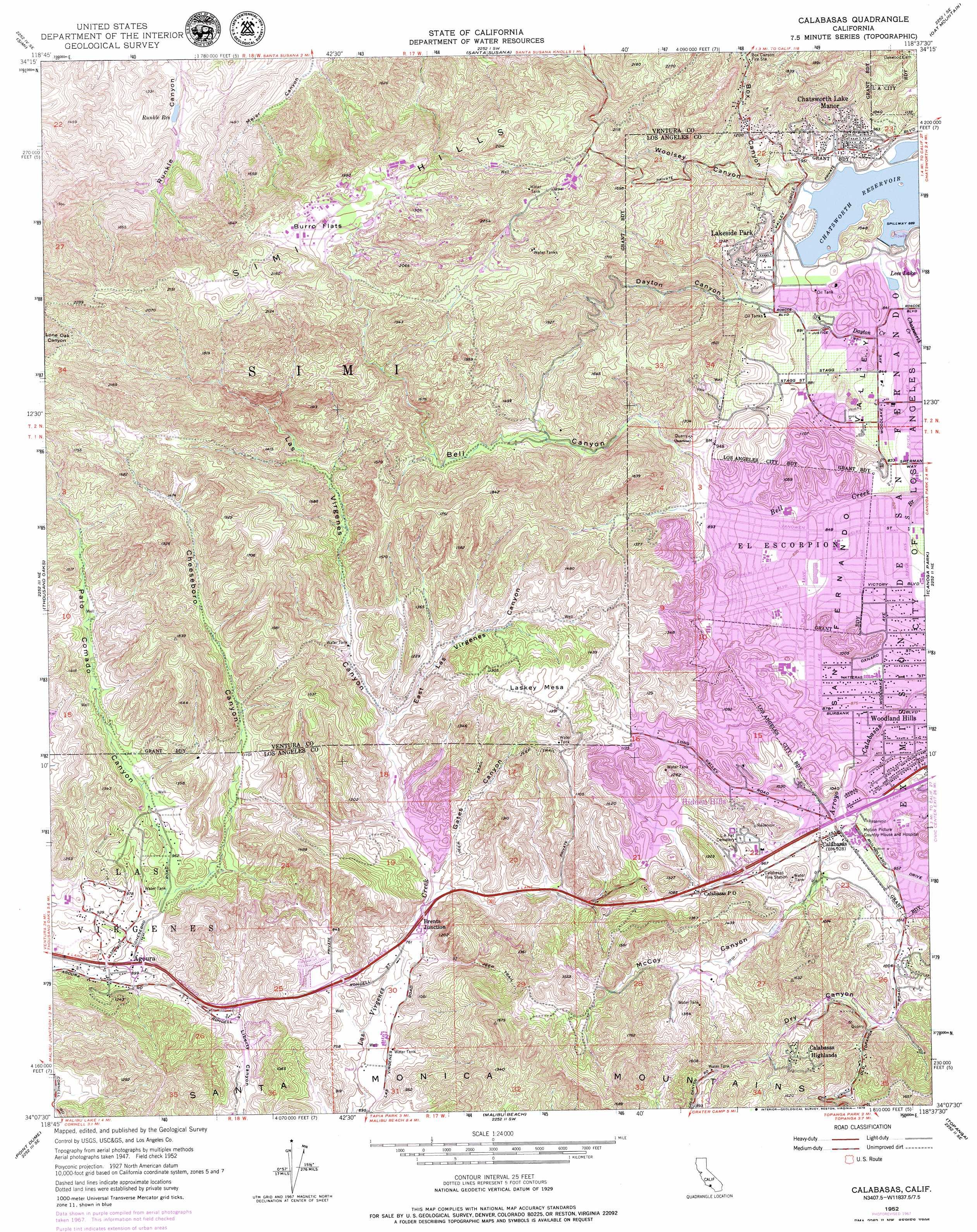 Calabasas topographic map, CA - USGS Topo Quad 34118b6 on
