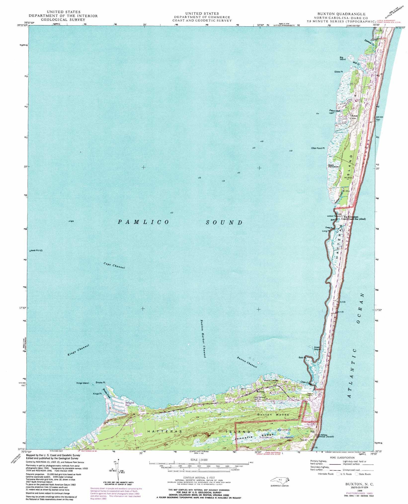 Buxton Topographic Map Nc Usgs Topo Quad 35075c5