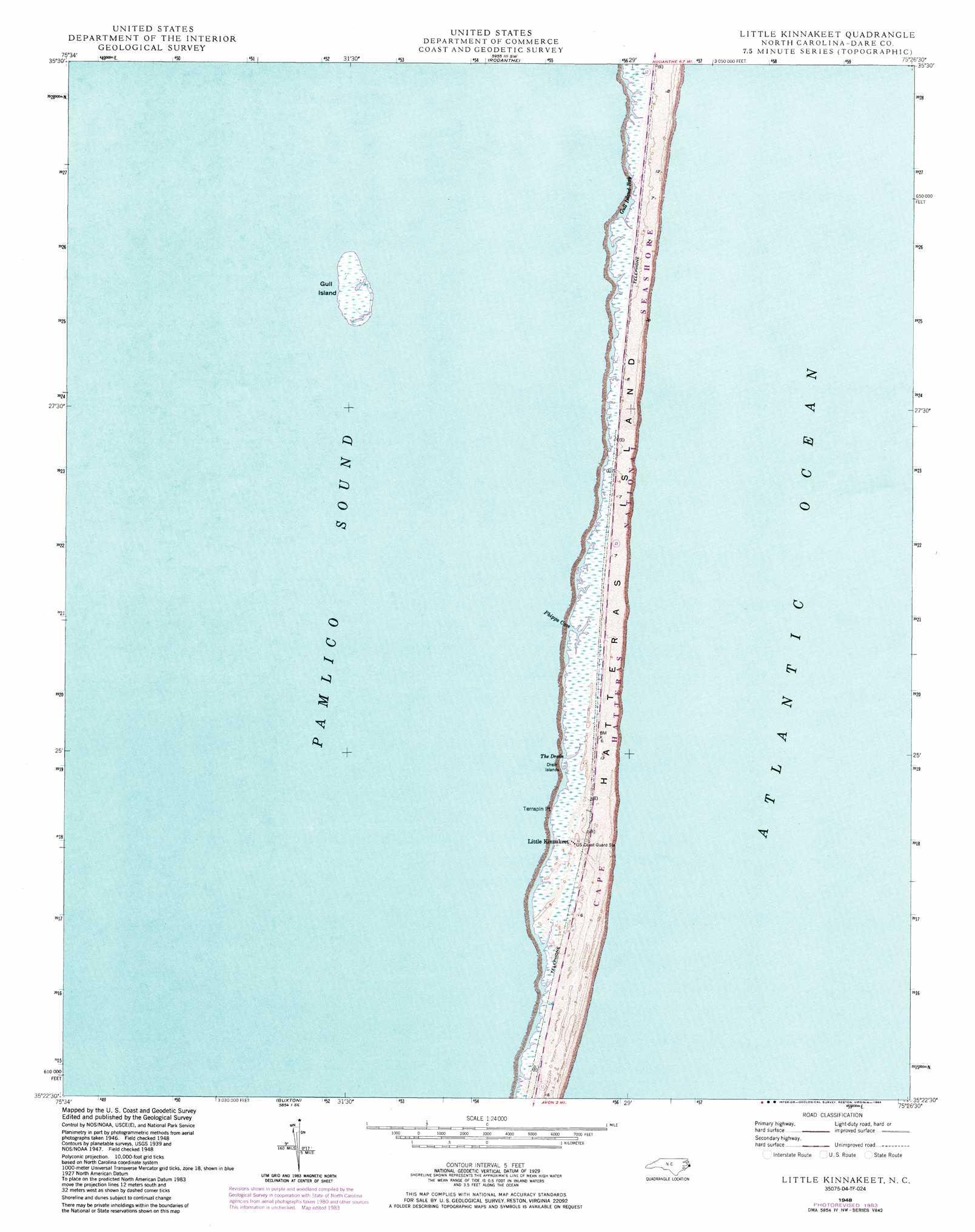 Little Kinnakeet Topographic Map Nc Usgs Topo Quad 35075d4