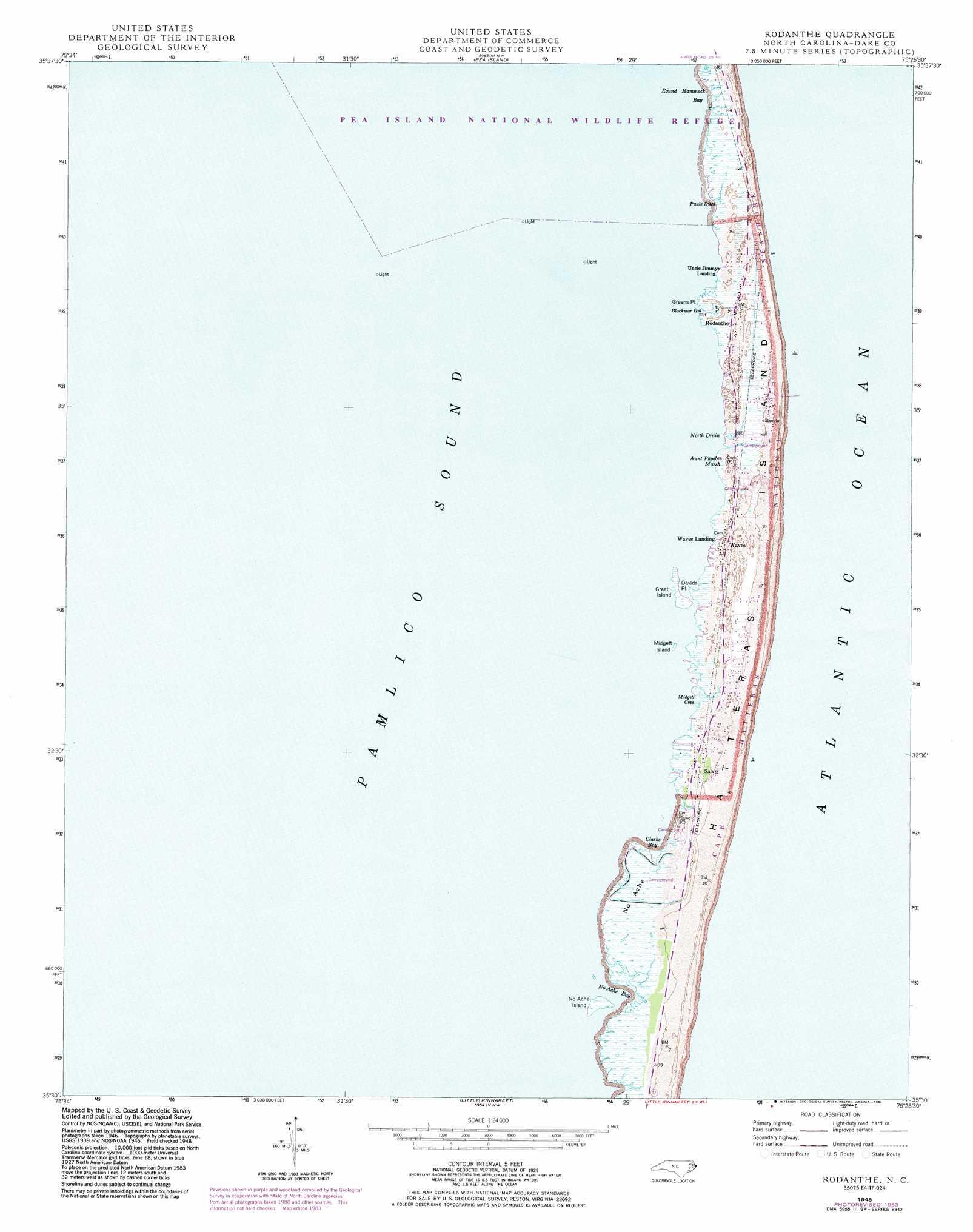 Rodanthe Topographic Map Nc Usgs Topo Quad 35075e4