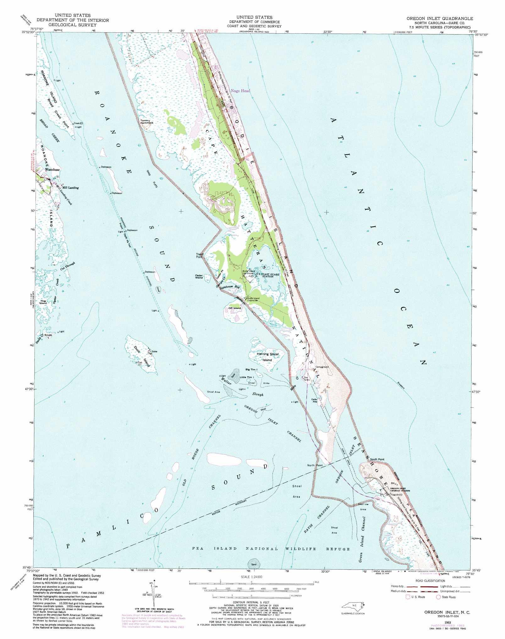 Oregon Inlet Topographic Map NC  USGS Topo Quad 35075g5