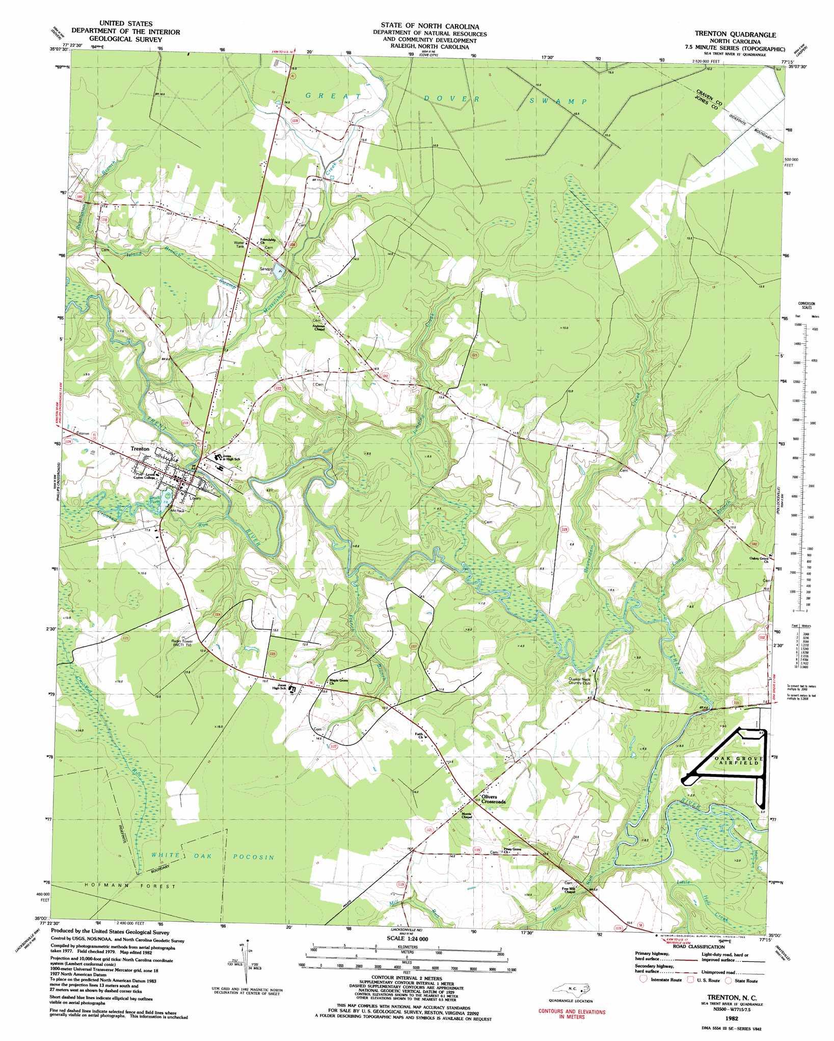 Trenton Topographic Map NC  USGS Topo Quad 35077a3