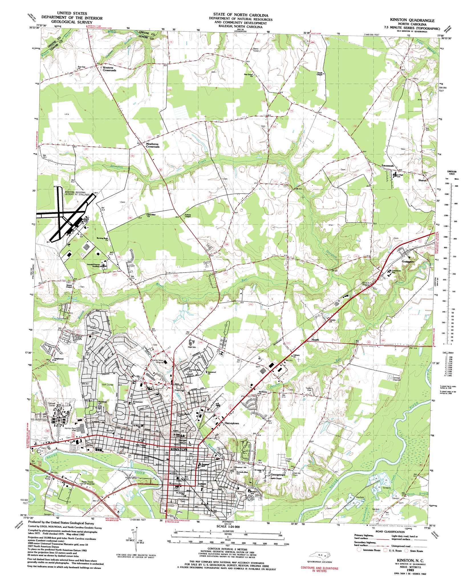 Kinston Topographic Map Nc Usgs Topo Quad 35077c5 - Us-geodetic-maps