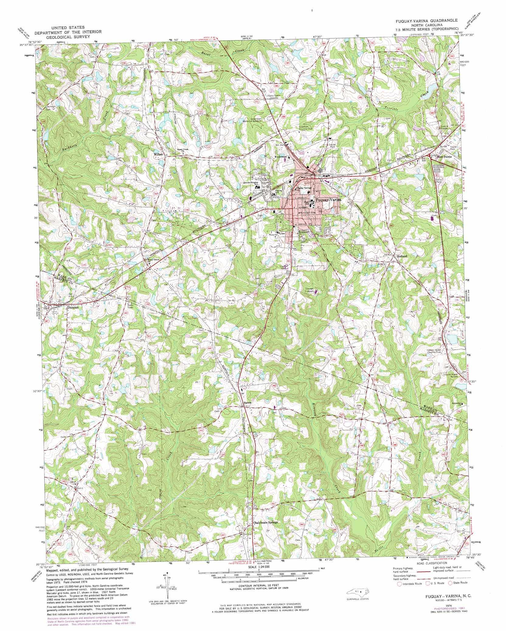 Fuquay Varina Topographic Map Nc Usgs Topo Quad 35078e7