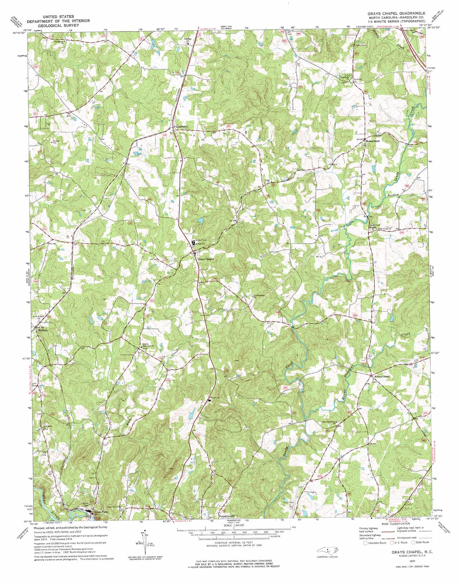 Grays Chapel Topographic Map Nc Usgs Topo Quad 35079g6