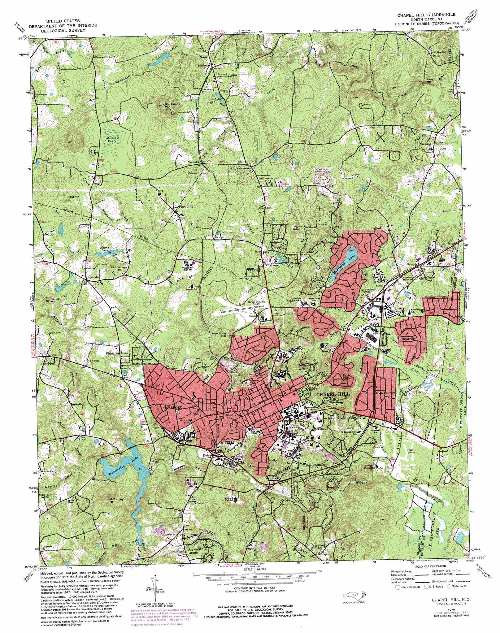 Chapel Hill topographic map NC USGS Topo Quad 35079h1
