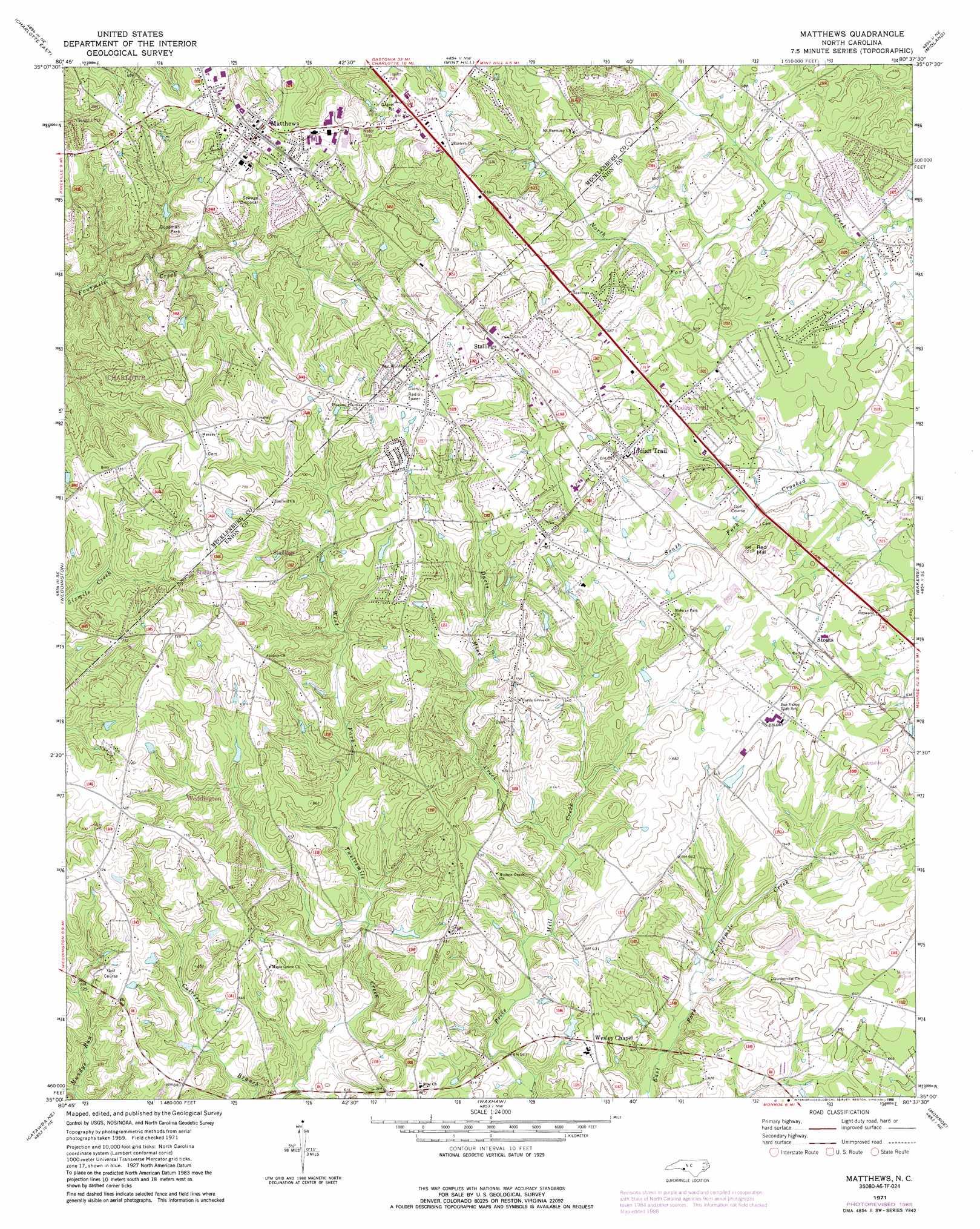 Matthews Topographic Map Nc Usgs Topo Quad 35080a6