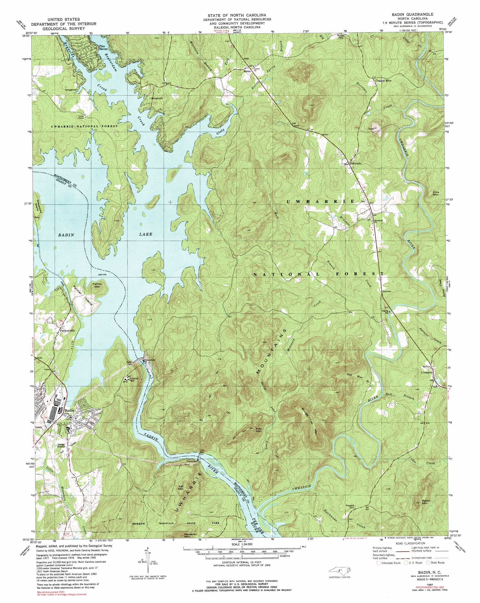 Badin Topographic Map NC USGS Topo Quad D - Us topogragphical map