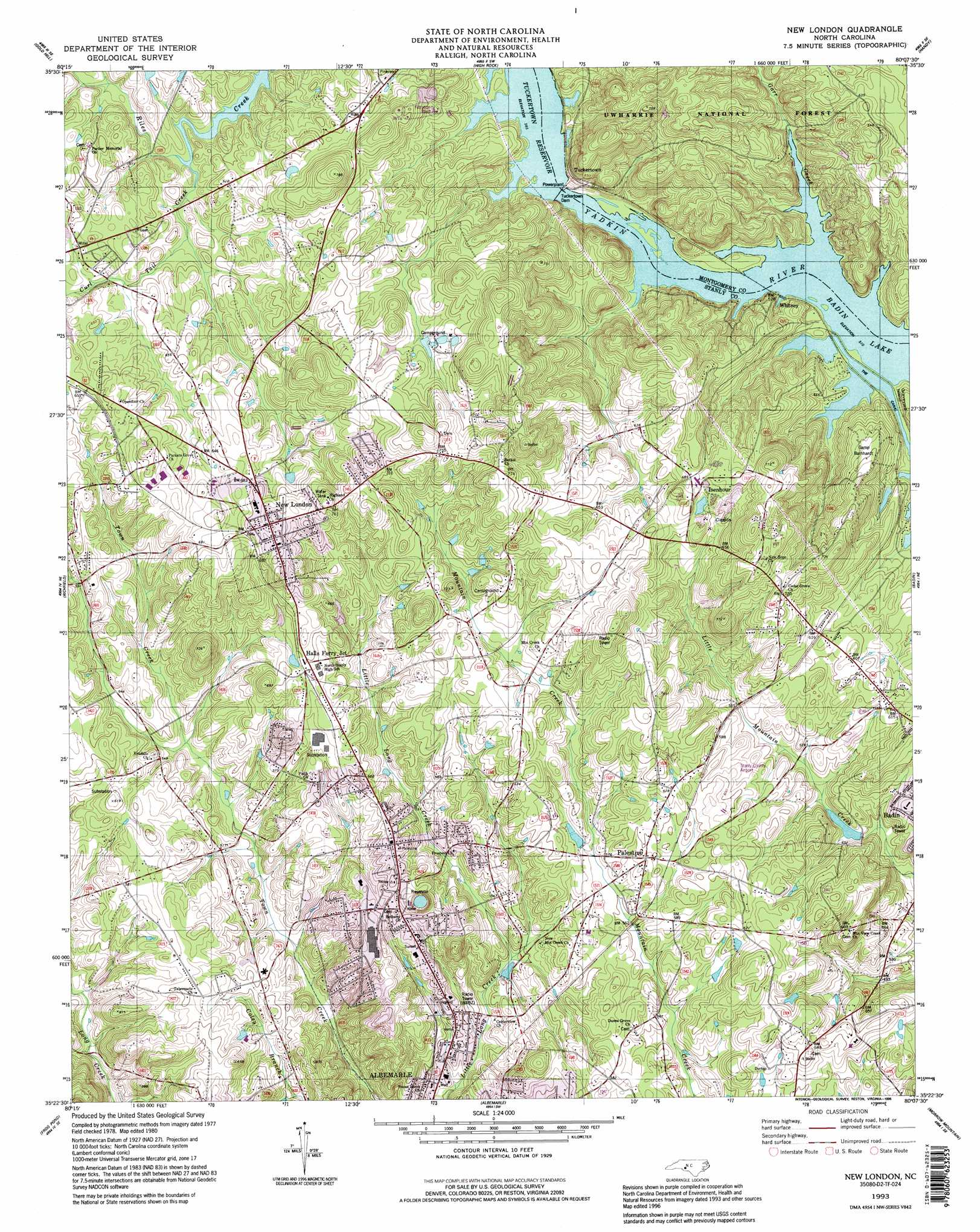 New London Topographic Map Nc Usgs Topo Quad 35080d2