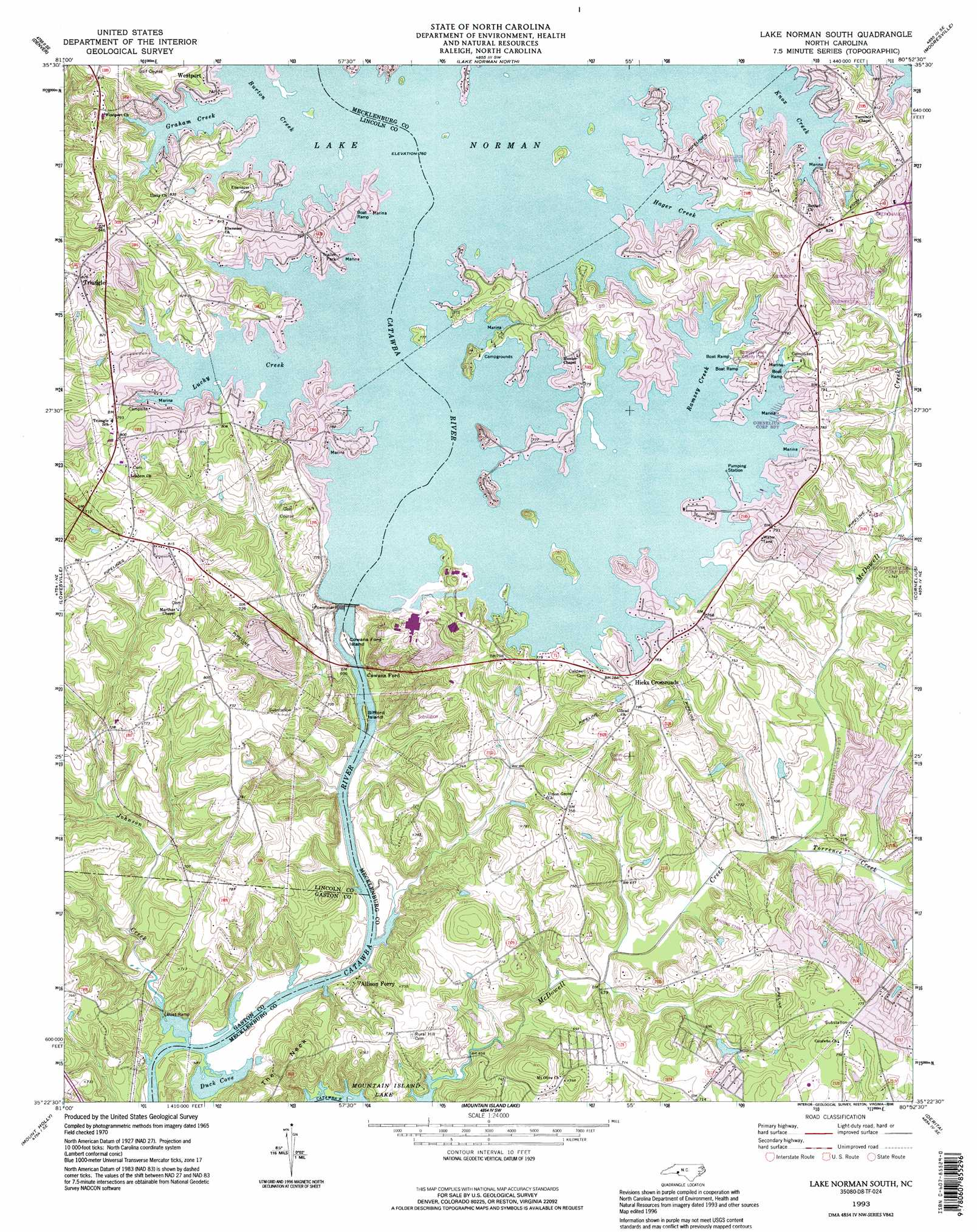 Lake Norman South topographic map NC USGS Topo Quad 35080d8