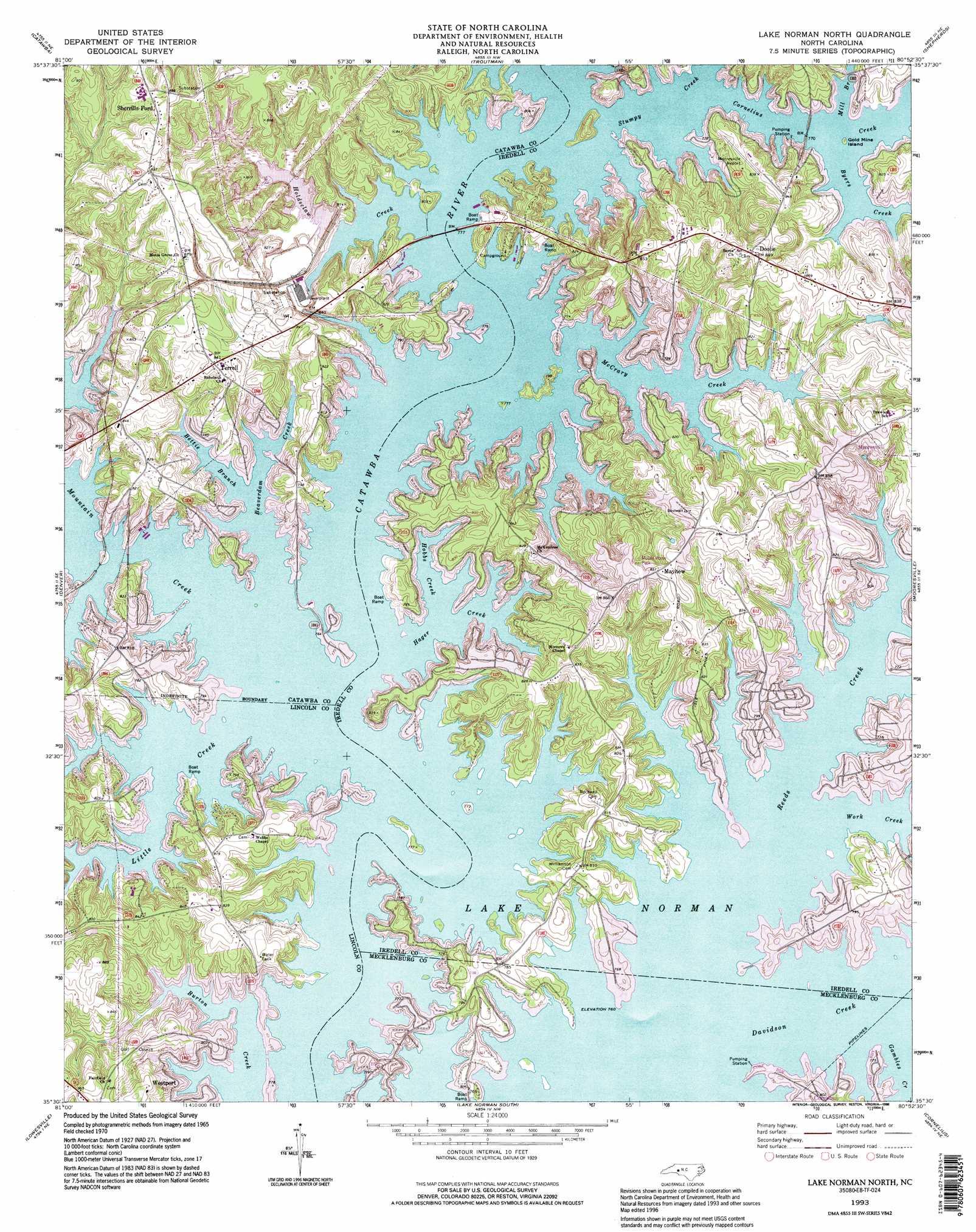 lake norman north topographic map nc usgs topo quad e8