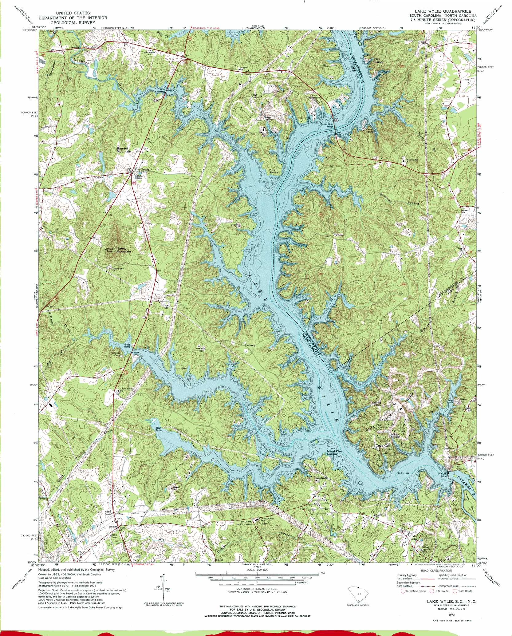 Lake Wylie Topographic Map Sc Nc Usgs Topo Quad 35081a1