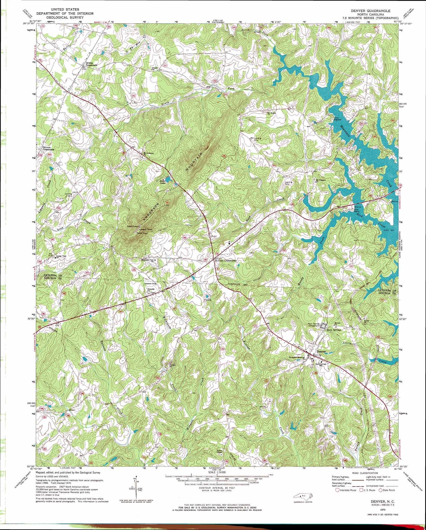 Denver Topographic Map NC USGS Topo Quad E - Us map denver