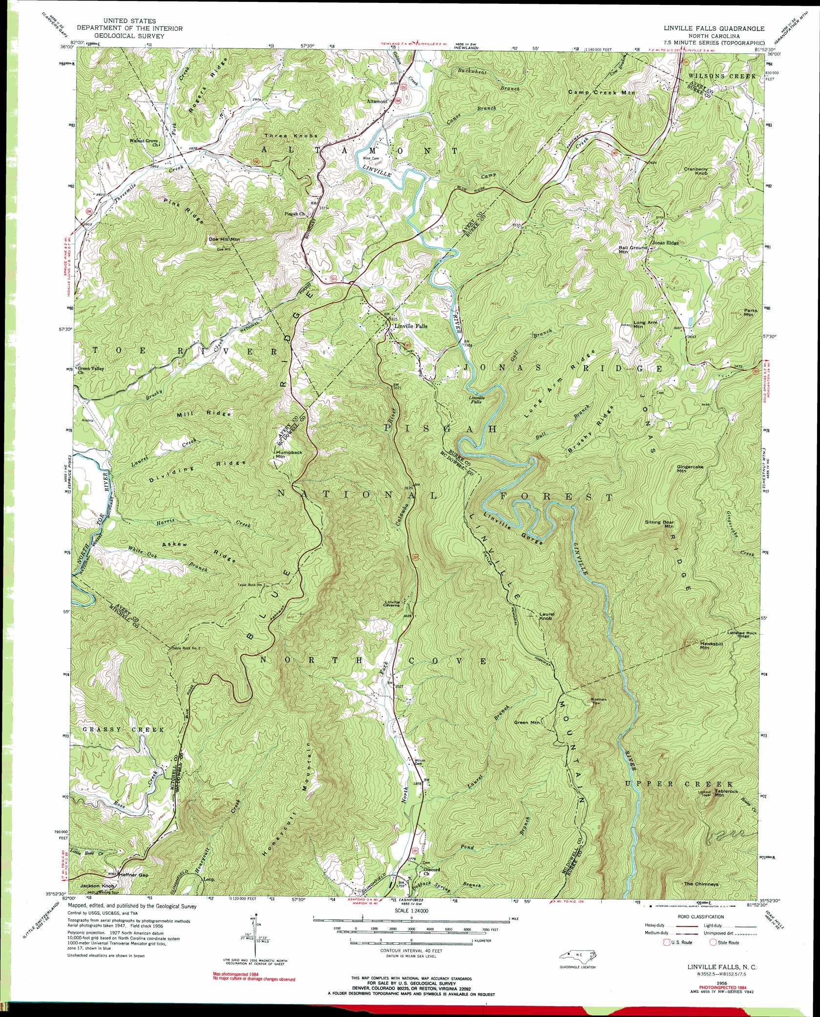 Linville Falls Topographic Map Nc Usgs Topo Quad 35081h8