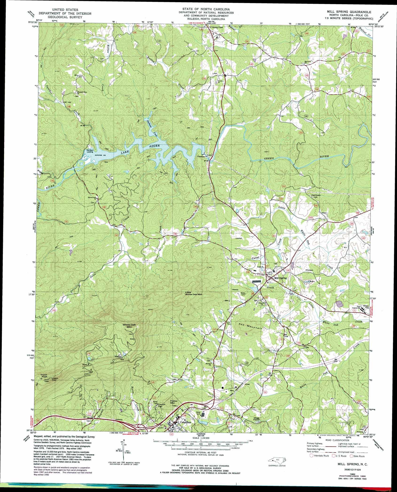 Mill Spring Topographic Map Nc Usgs Topo Quad 35082c2