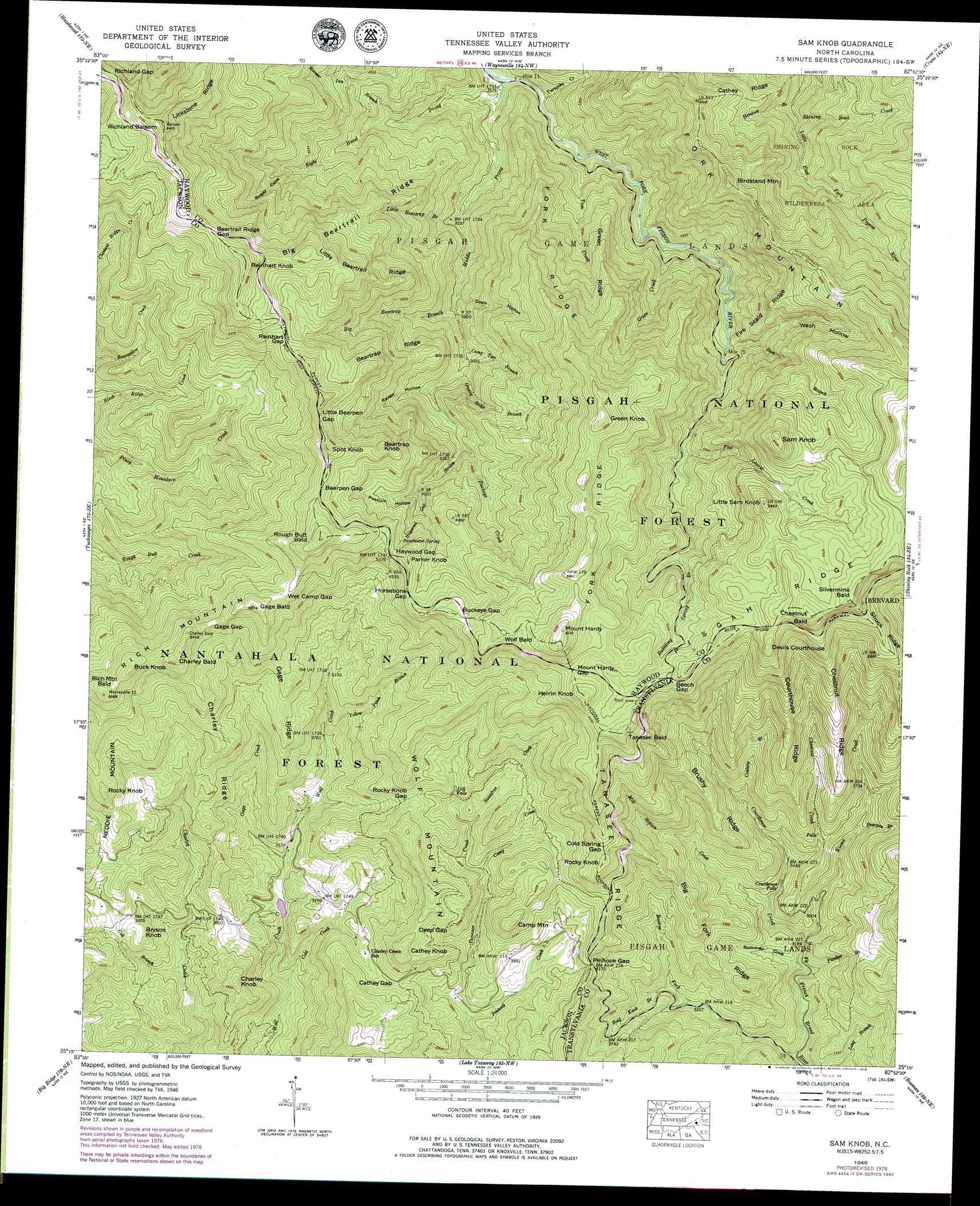 Sam Knob Topographic Map Nc Usgs Topo Quad 35082c8