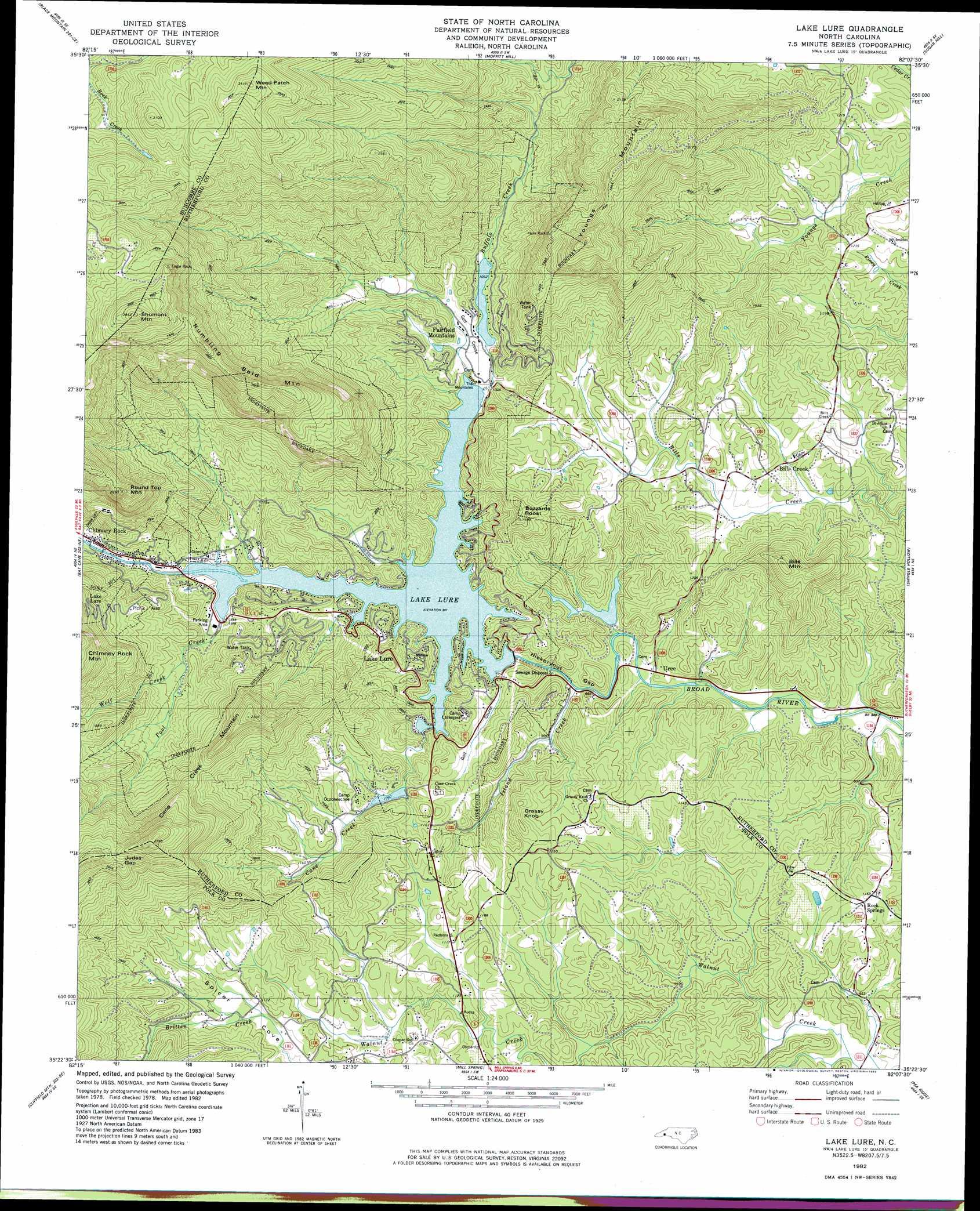 Lake Lure Topographic Map Nc Usgs Topo Quad 35082d2