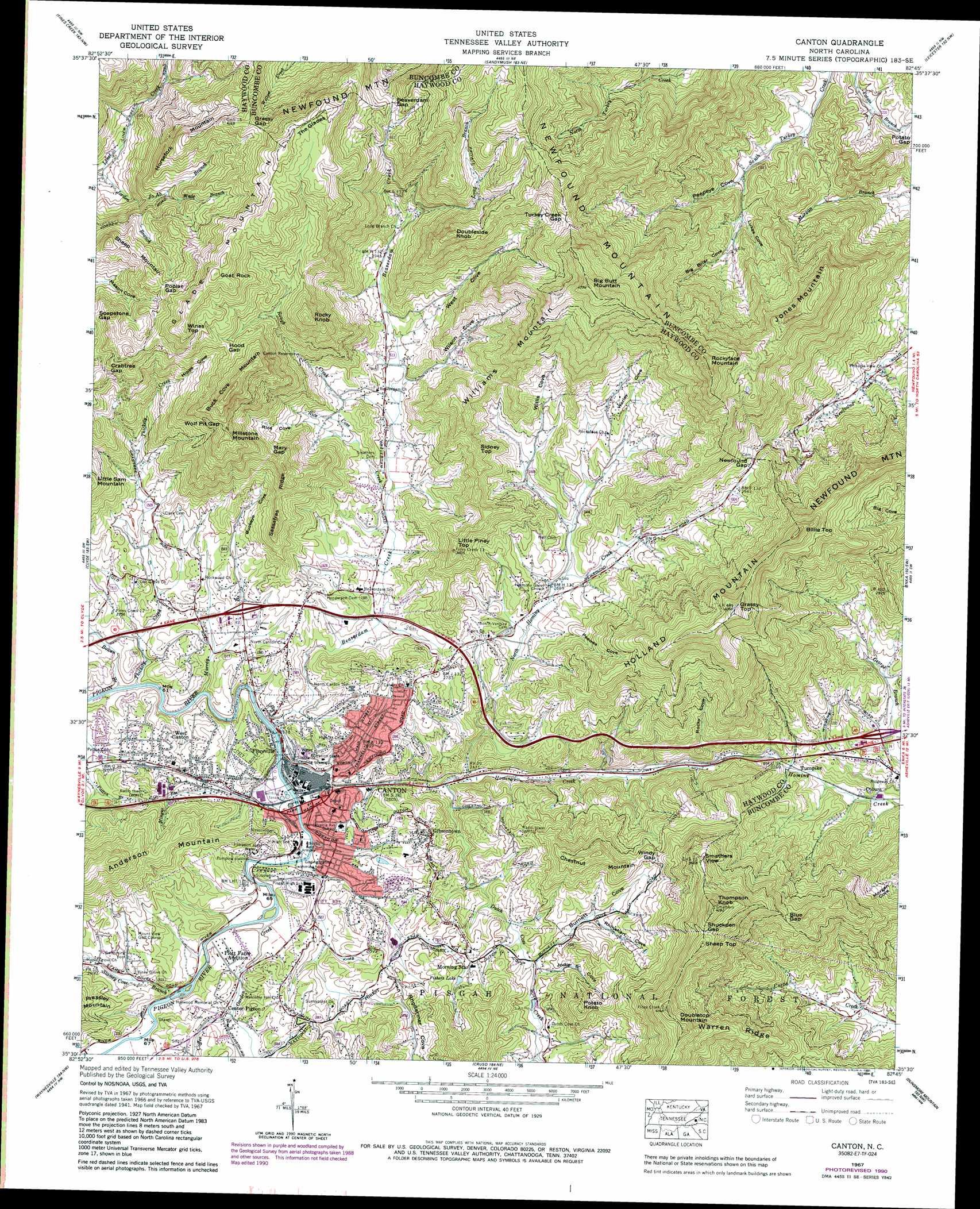 Canton Topographic Map Nc Usgs Topo Quad 35082e7