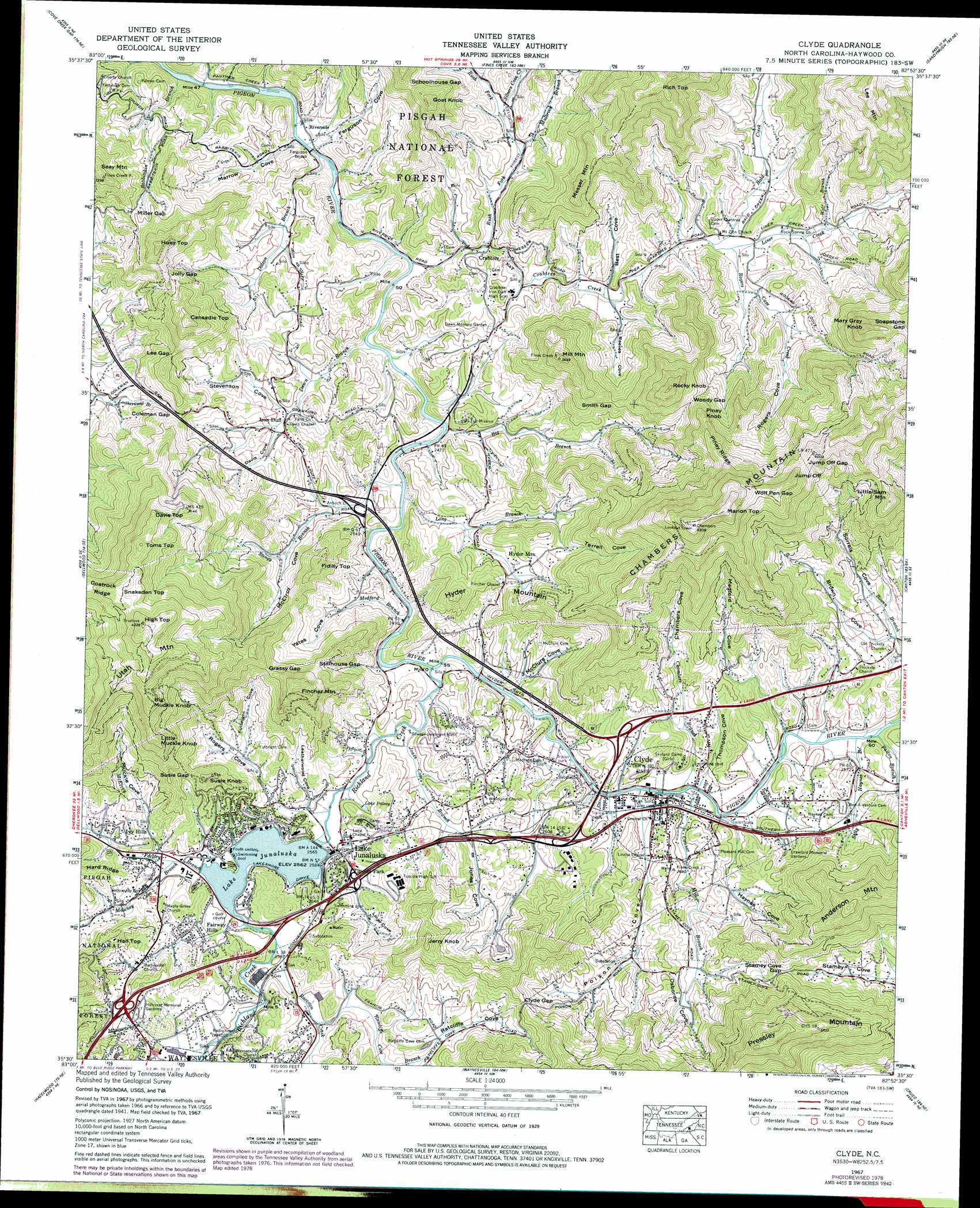 Clyde Topographic Map Nc Usgs Topo Quad 35082e8