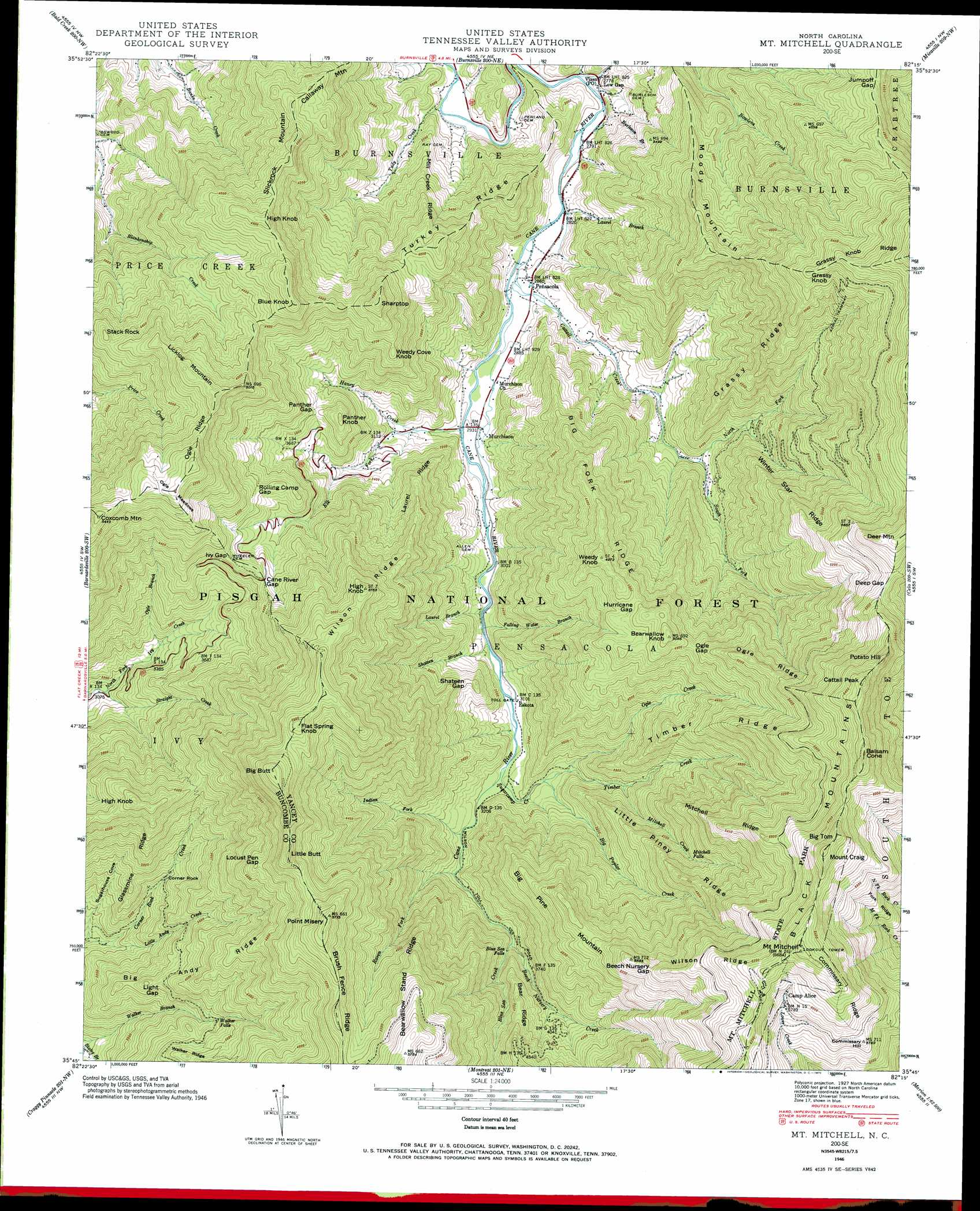 Mount Mitchell topographic map, NC - USGS Topo Quad 35082g3