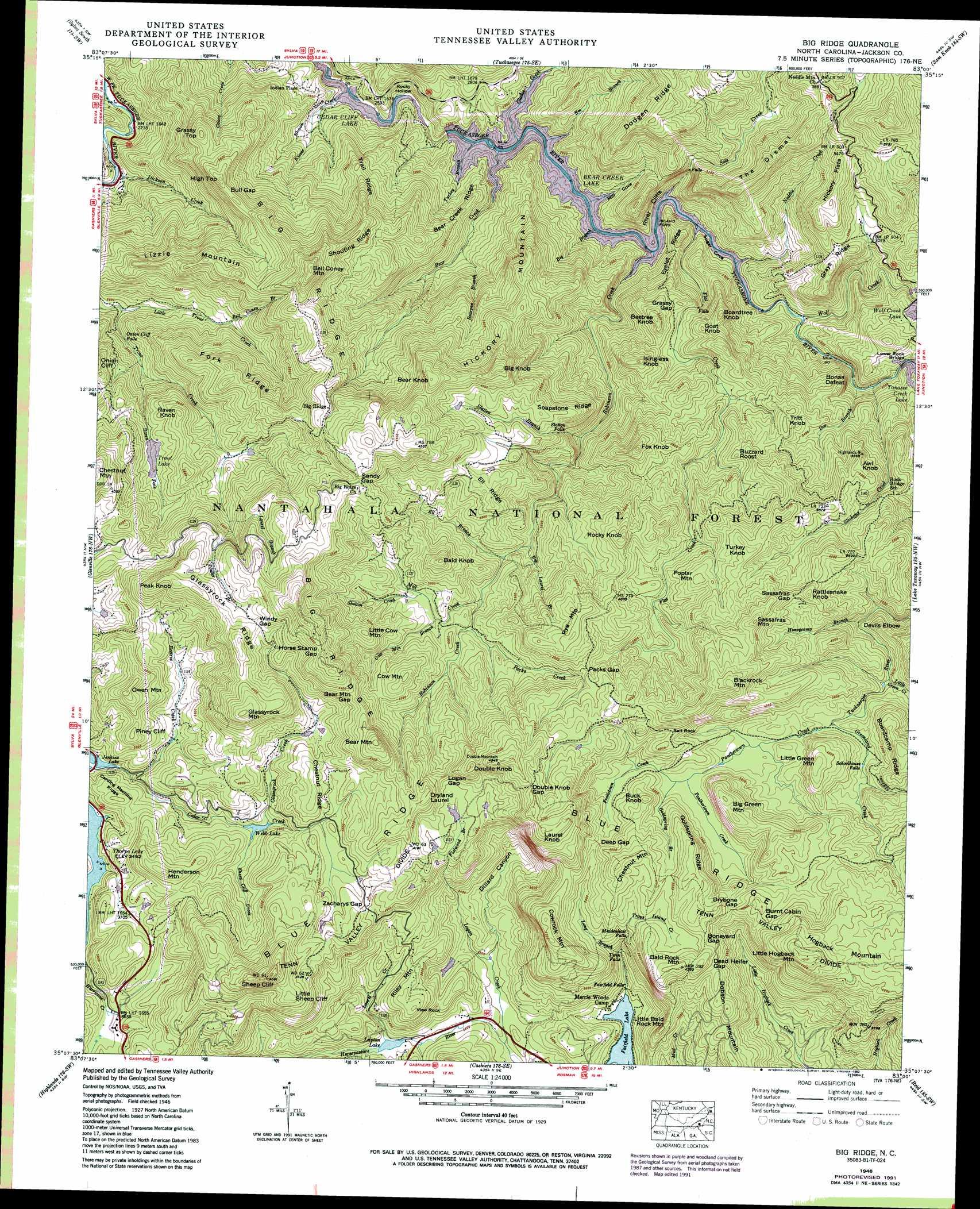 Big Ridge Topographic Map NC USGS Topo Quad B - Topographic map of western us