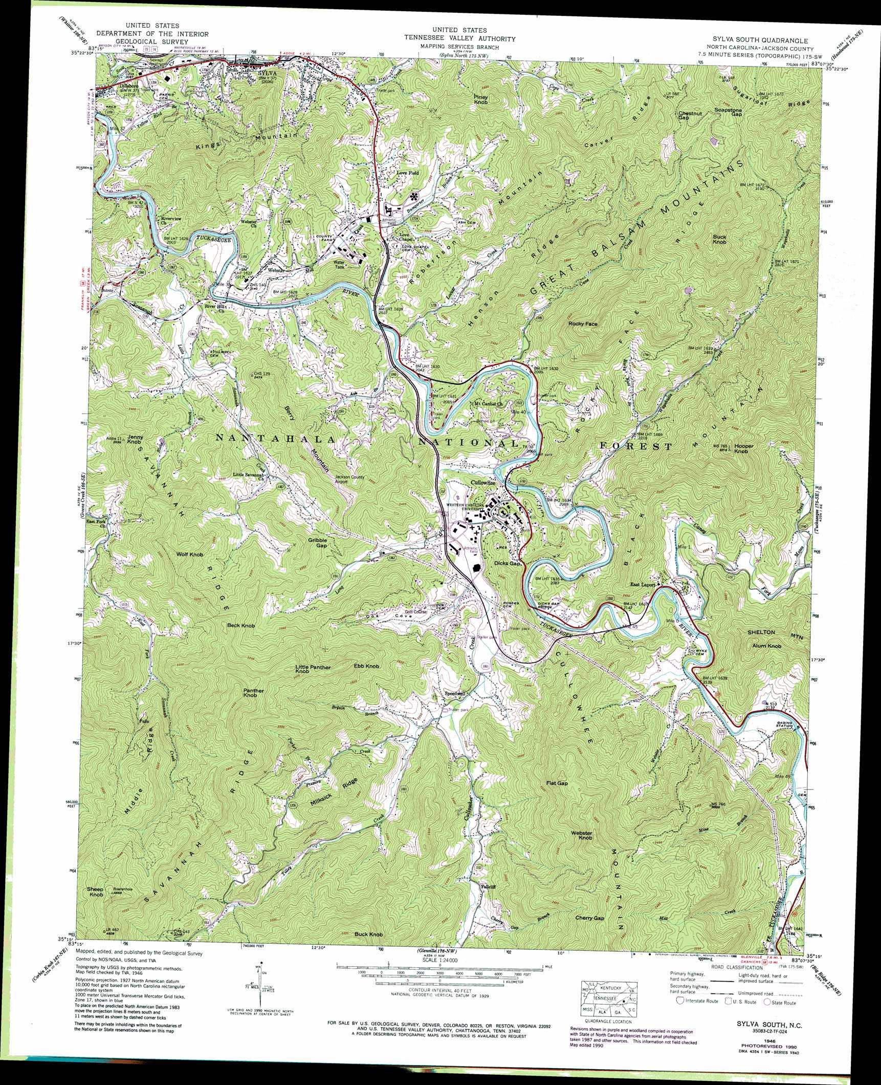 Sylva South Topographic Map Nc Usgs Topo Quad 35083c2