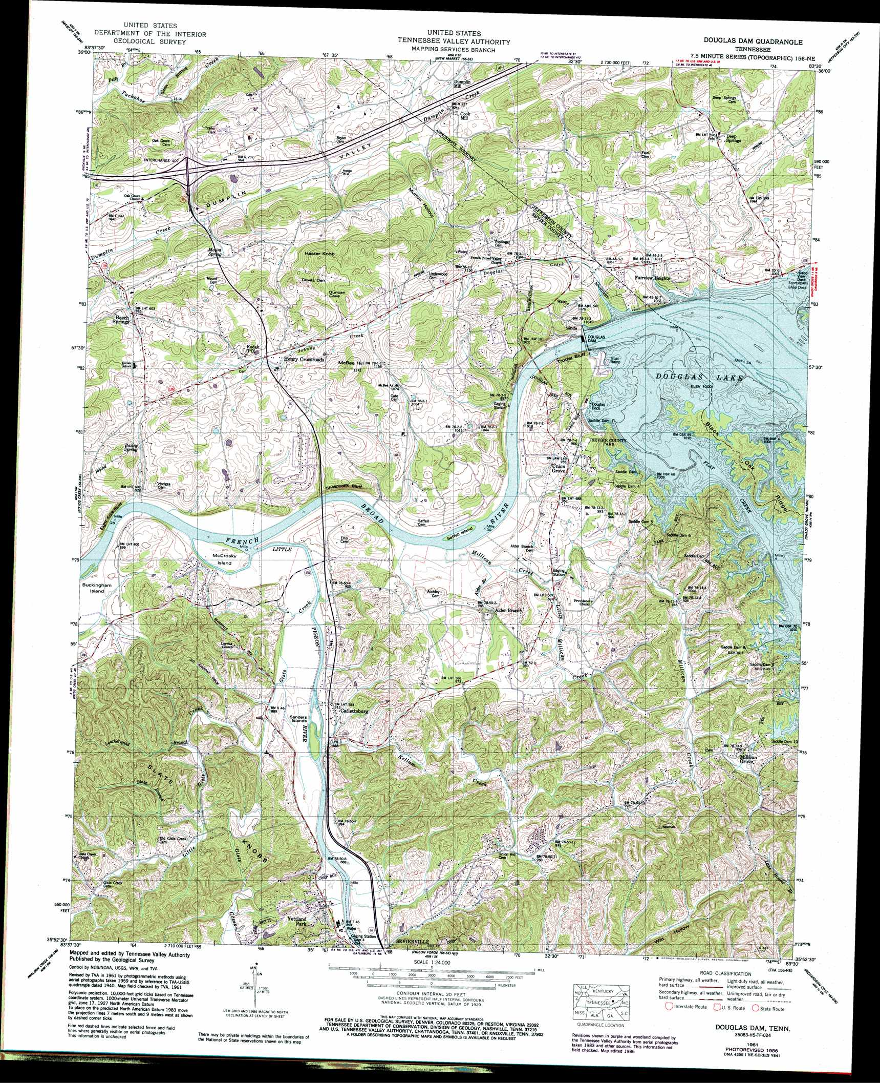 Douglas Dam Buy This Douglas Dam Topo Map