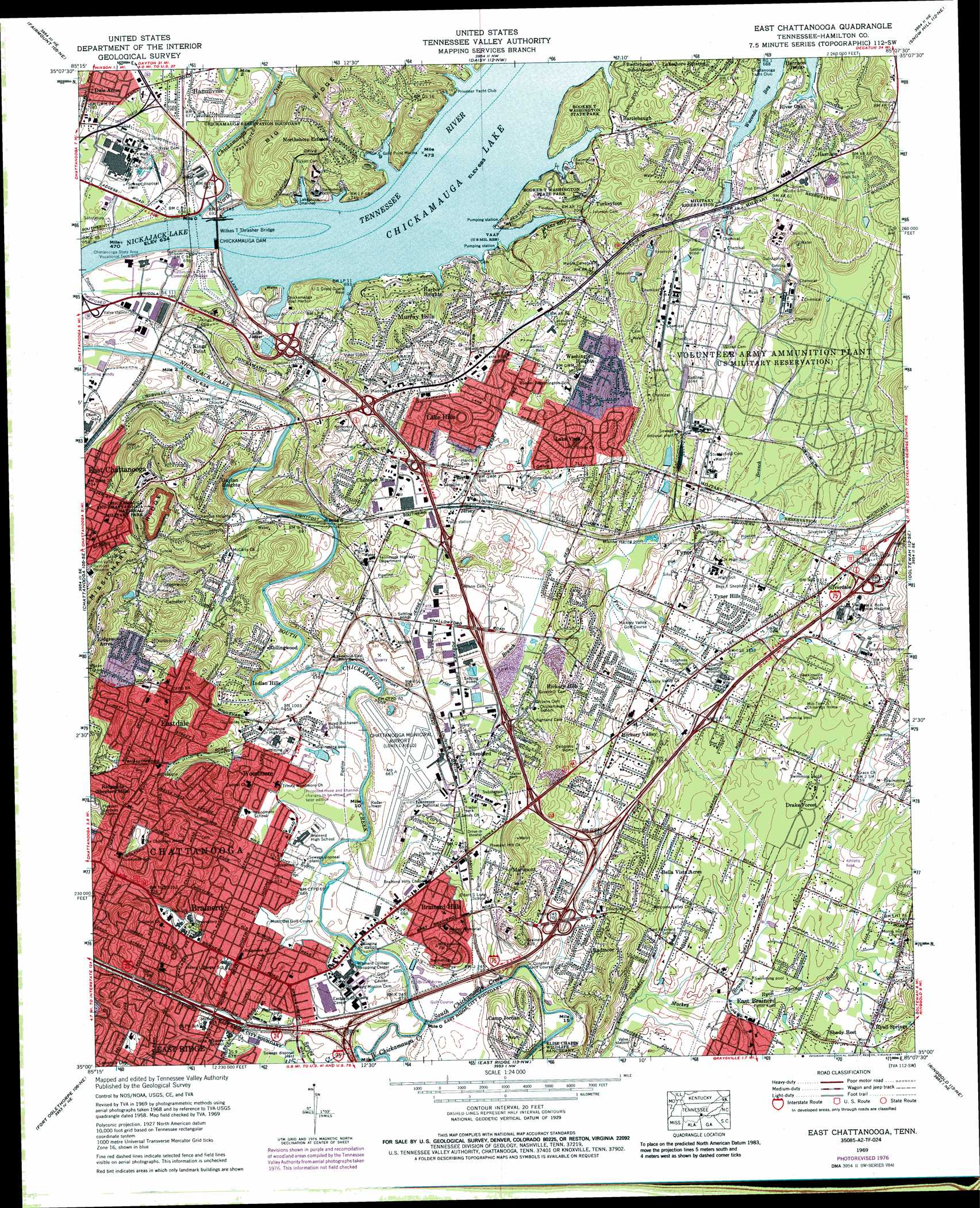 East Chattanooga topographic map TN USGS Topo Quad 35085a2