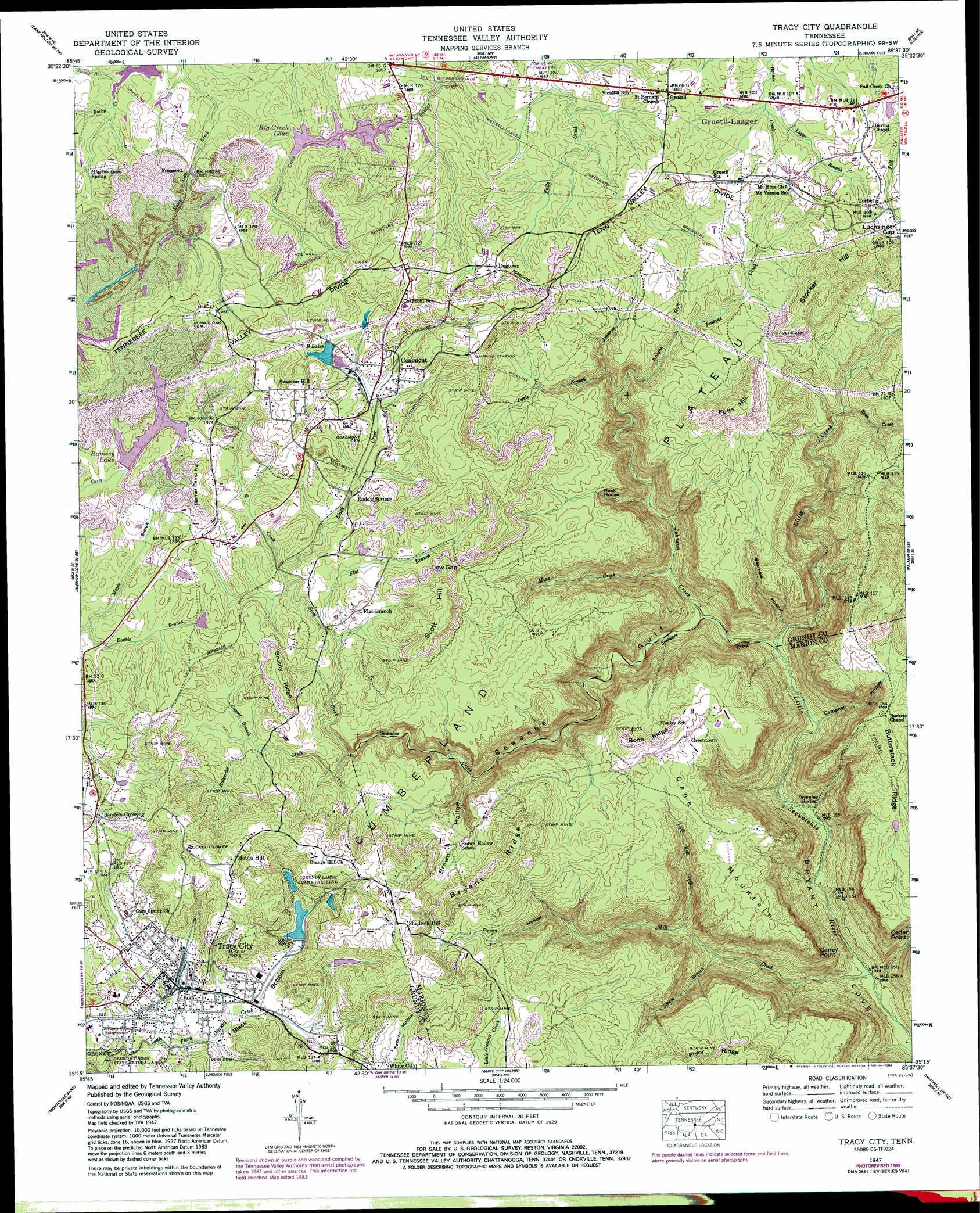 Tracy City topographic map TN USGS Topo Quad 35085c6