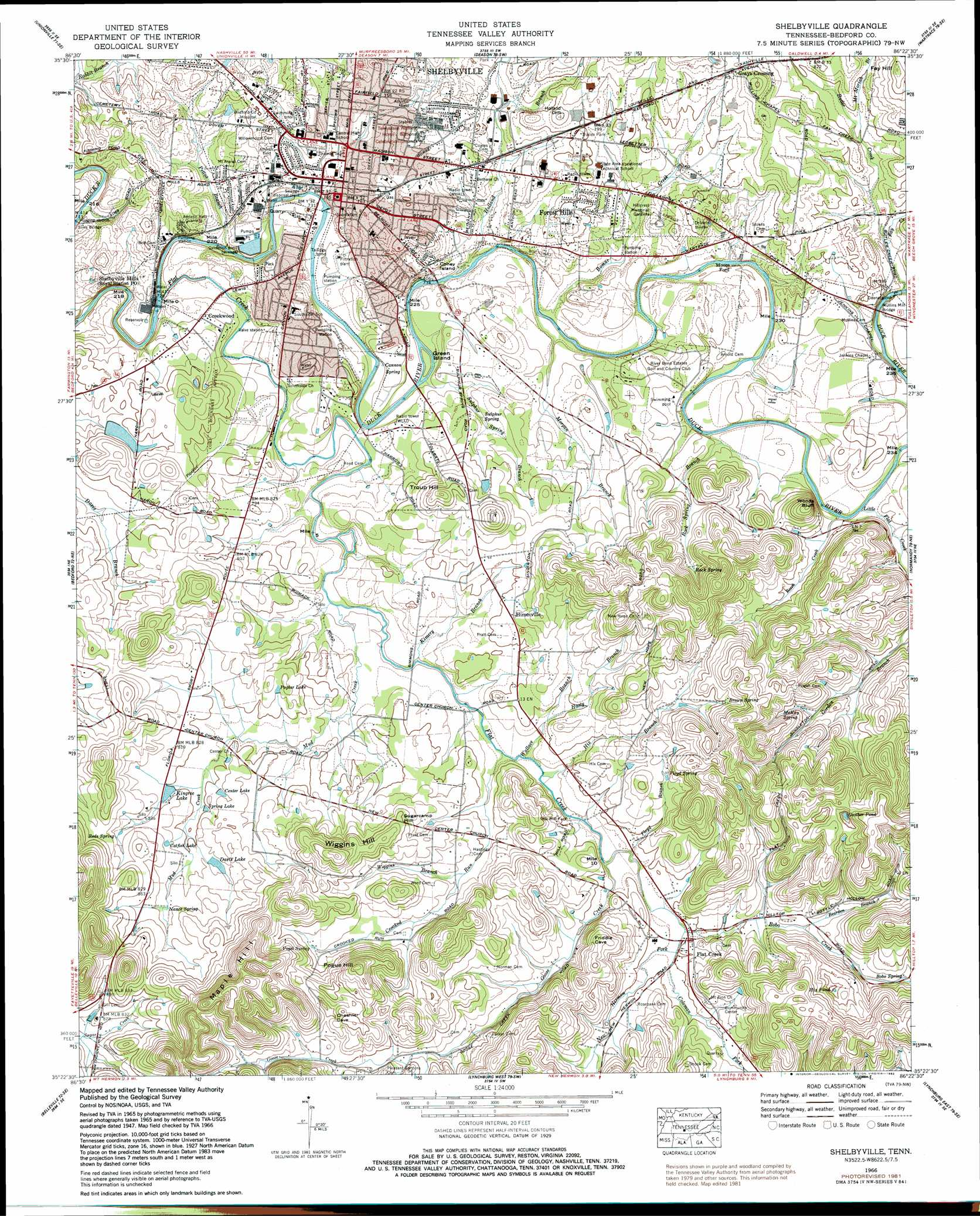 Shelbyville topographic map, TN - USGS Topo Quad 35086d4