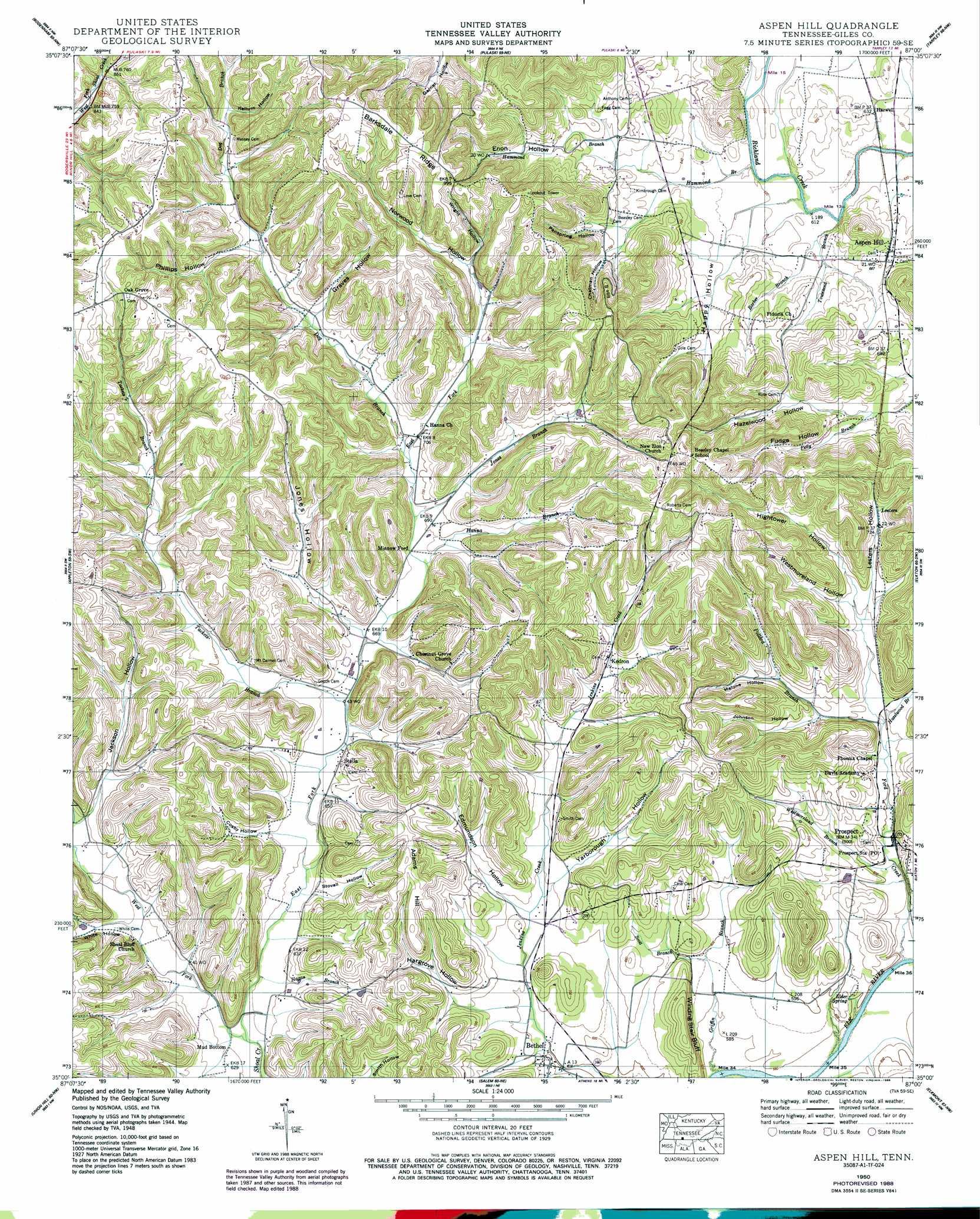 Aspen Hill topographic map TN USGS Topo Quad 35087a1