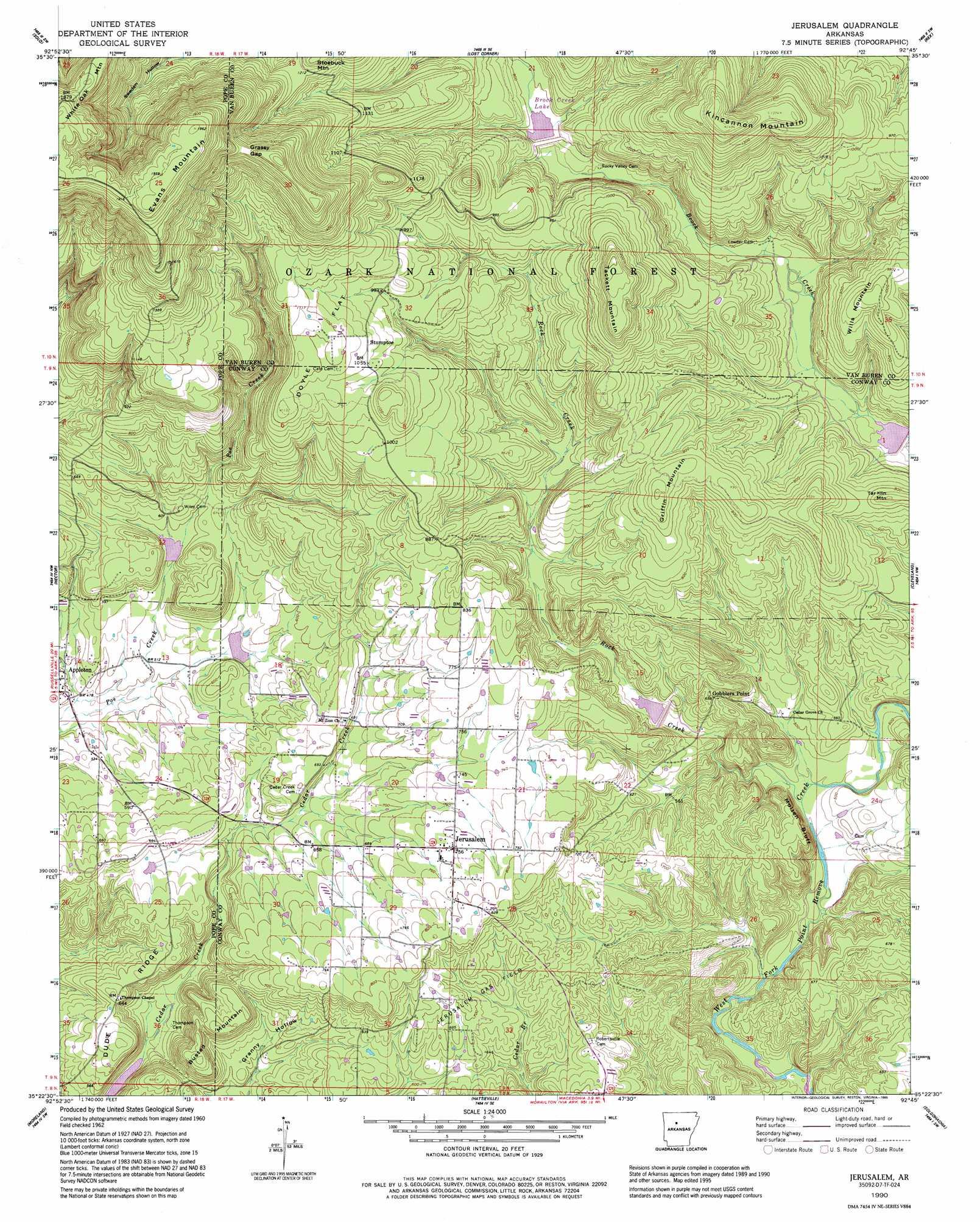 Jerusalem Topographic Map Ar Usgs Topo Quad 35092d7
