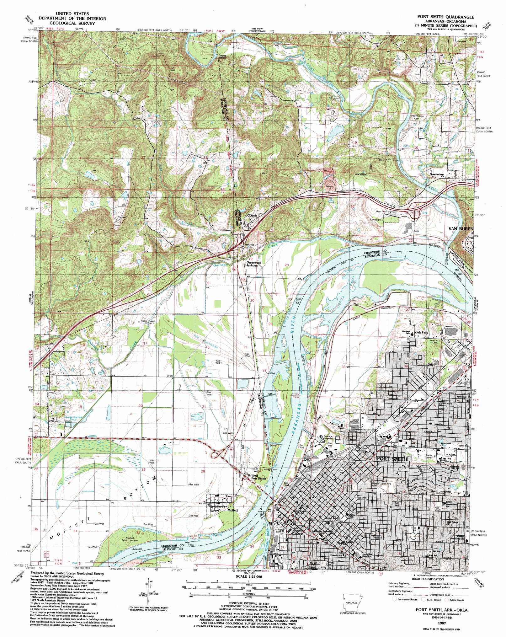 Fort Smith topographic map, AR, OK - USGS Topo Quad 35094d4