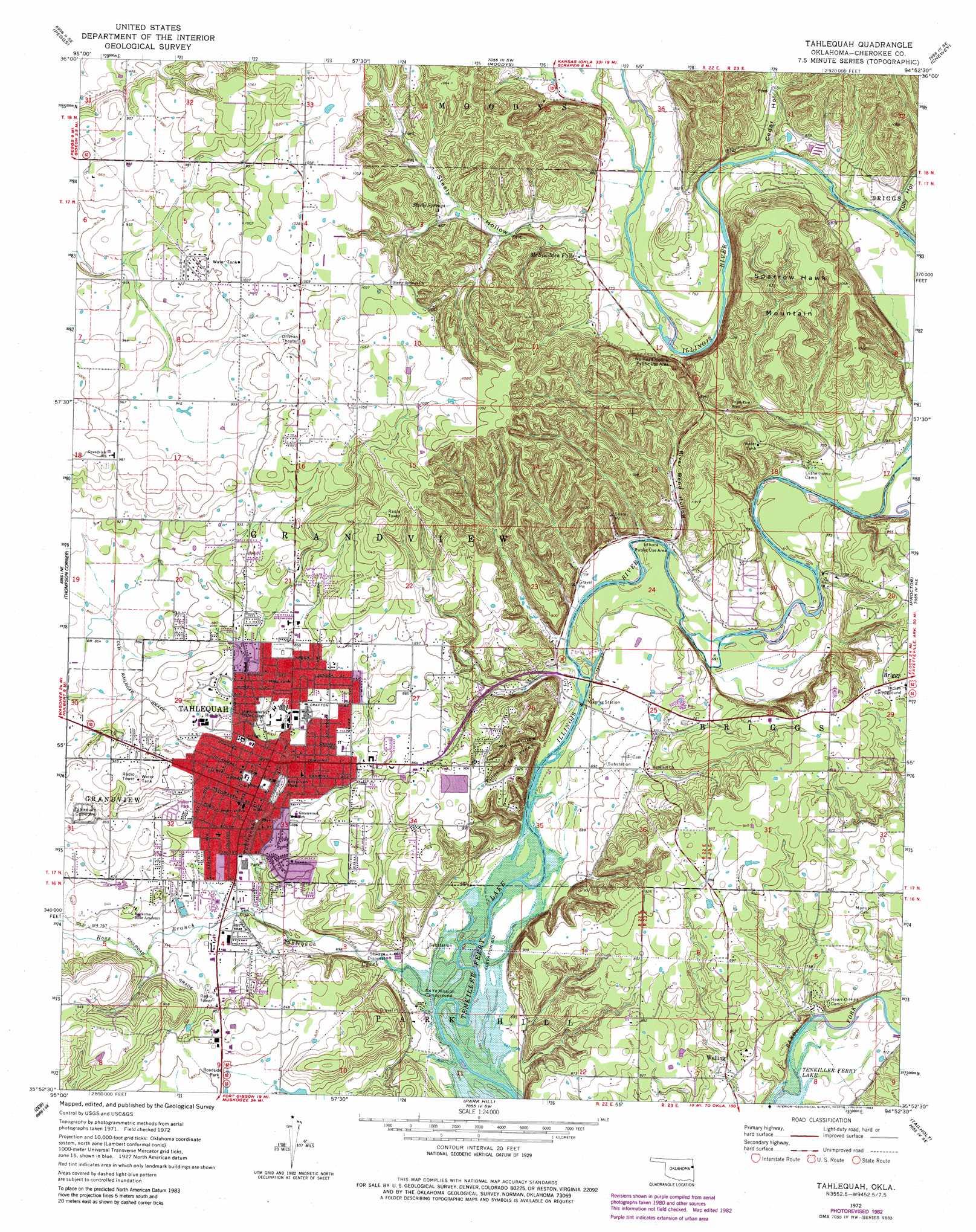 Tahlequah topographic map, OK - USGS Topo Quad 35094h8
