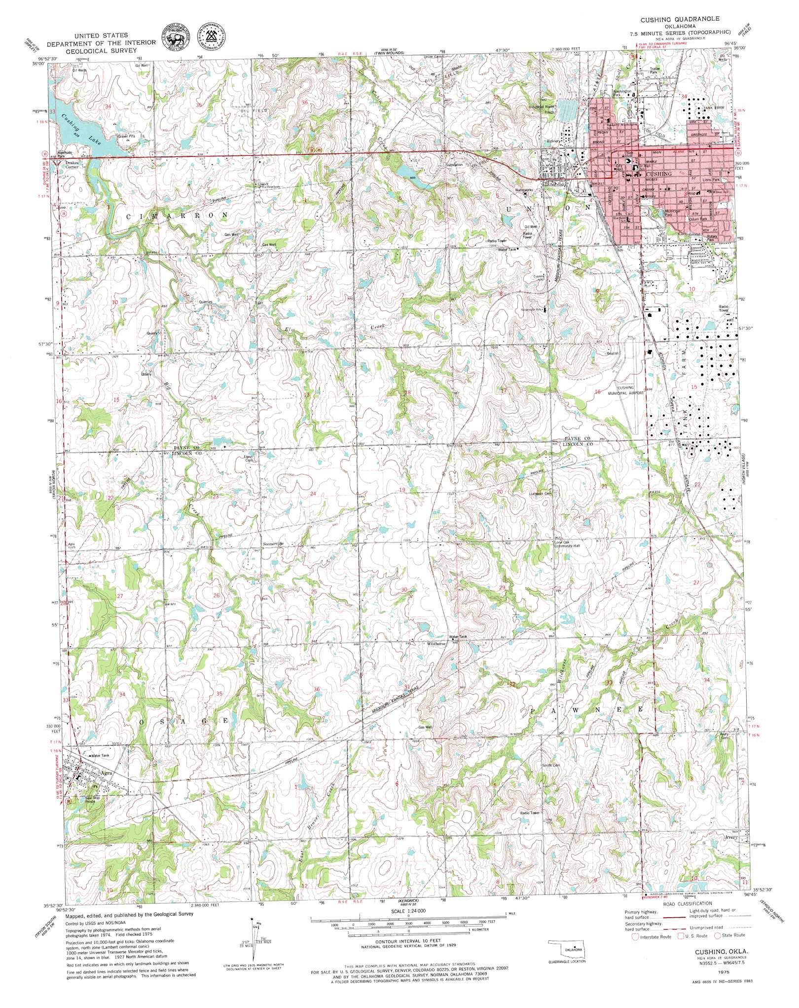 Cushing Topographic Map OK  USGS Topo Quad 35096h7