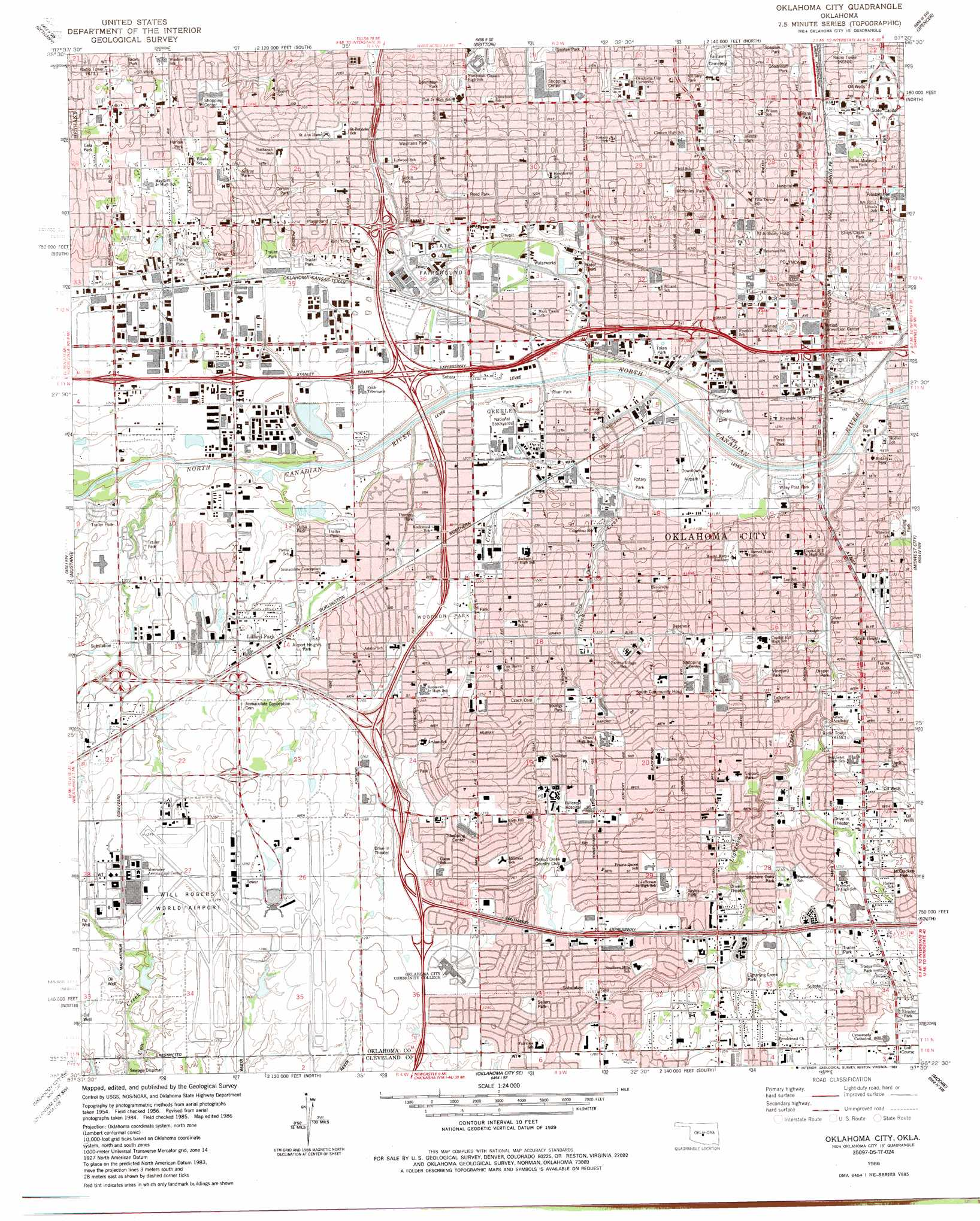 Oklahoma City topographic map, OK - USGS Topo Quad 35097d5