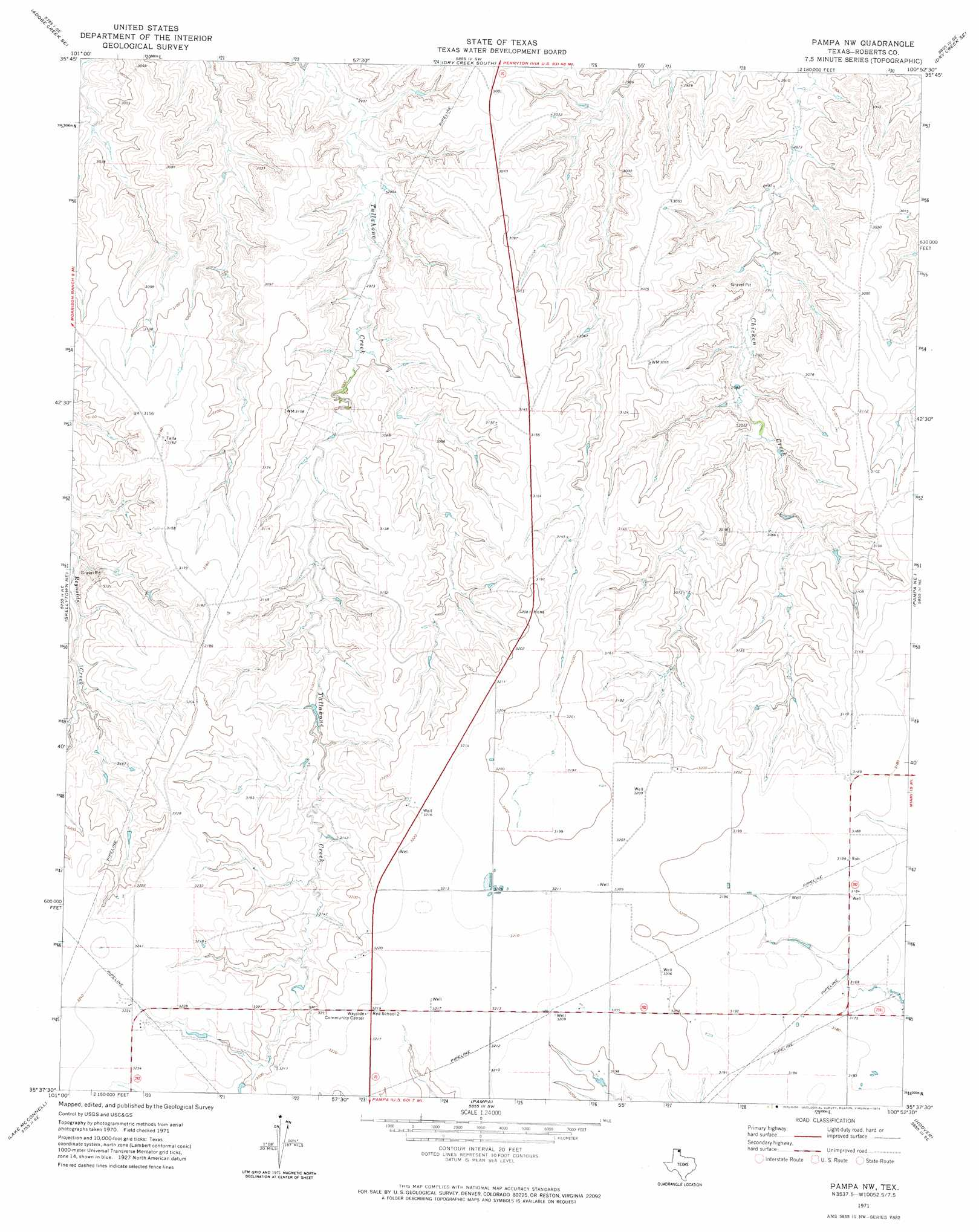 Pampa Nw topographic map, TX - USGS Topo Quad 35100f8 on