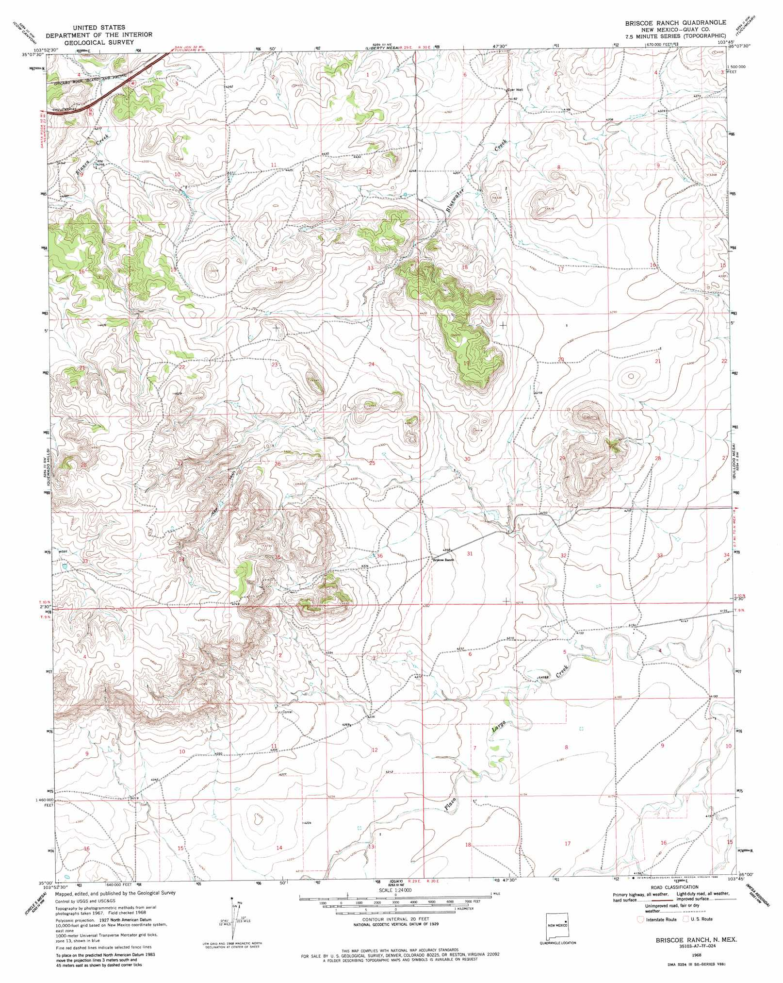 Briscoe Ranch topographic map NM USGS Topo Quad 35103a7