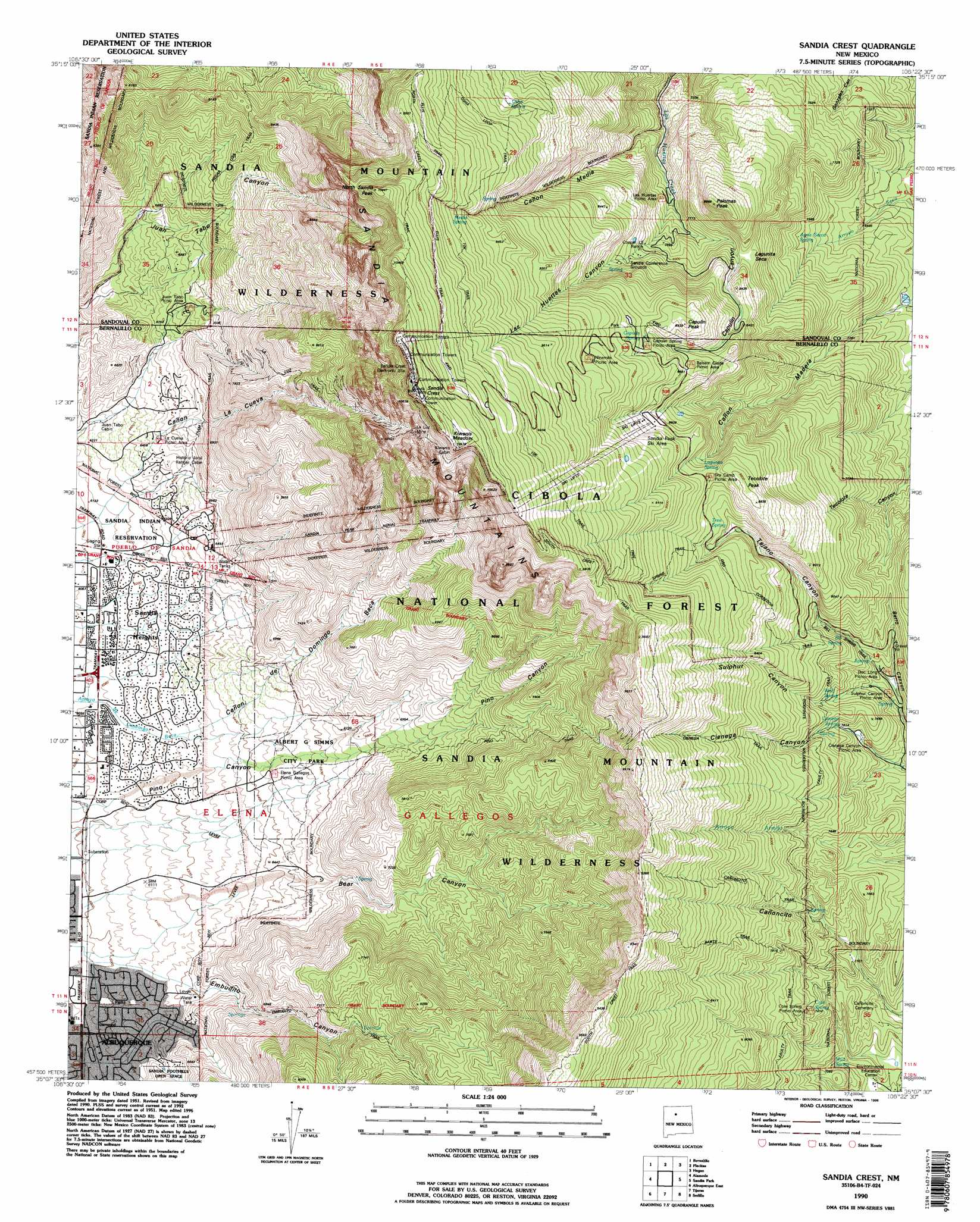 Sandia Crest Topographic Map Nm Usgs Topo Quad 35106b4