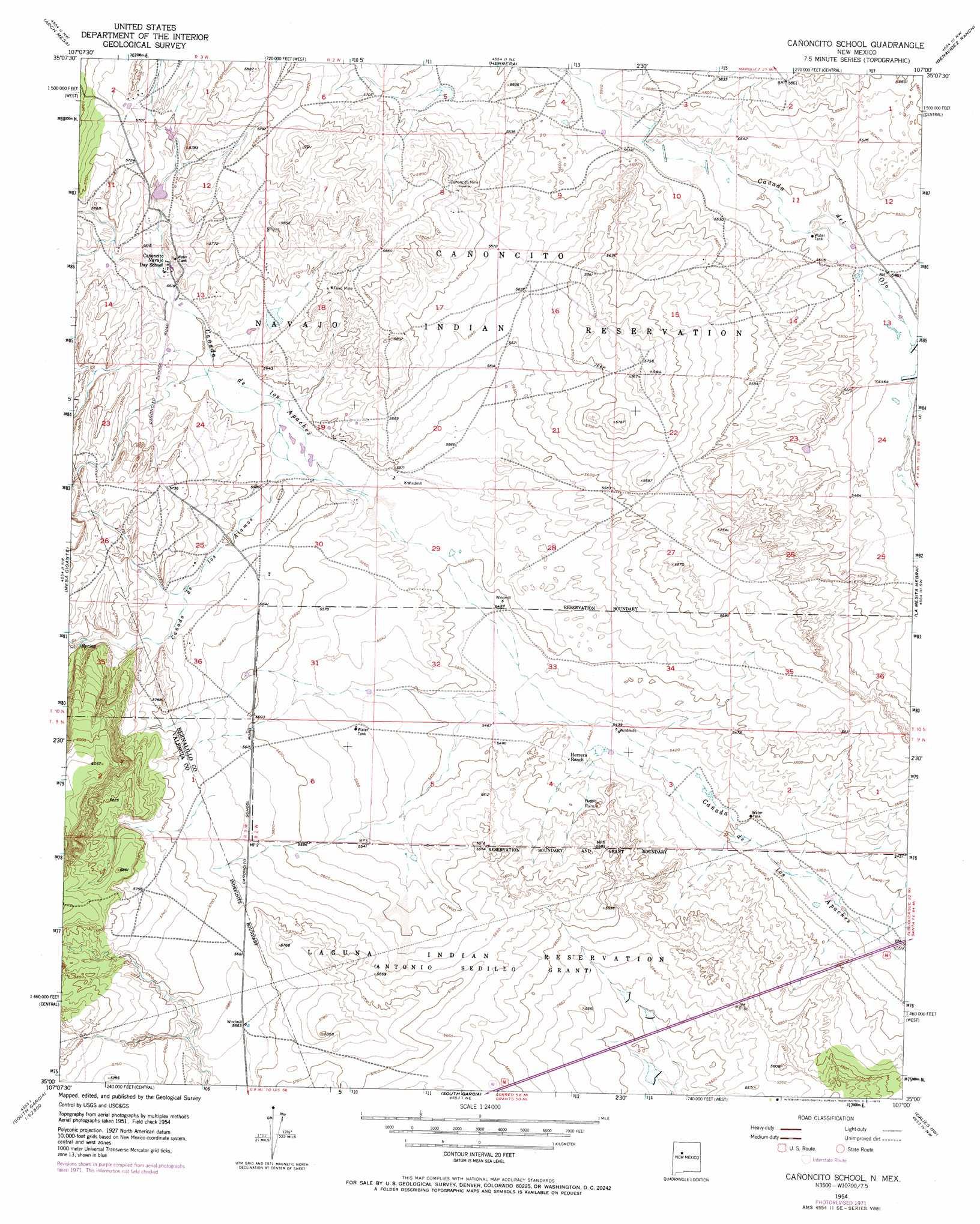 Canoncito School Topographic Map NM  USGS Topo Quad 35107a1
