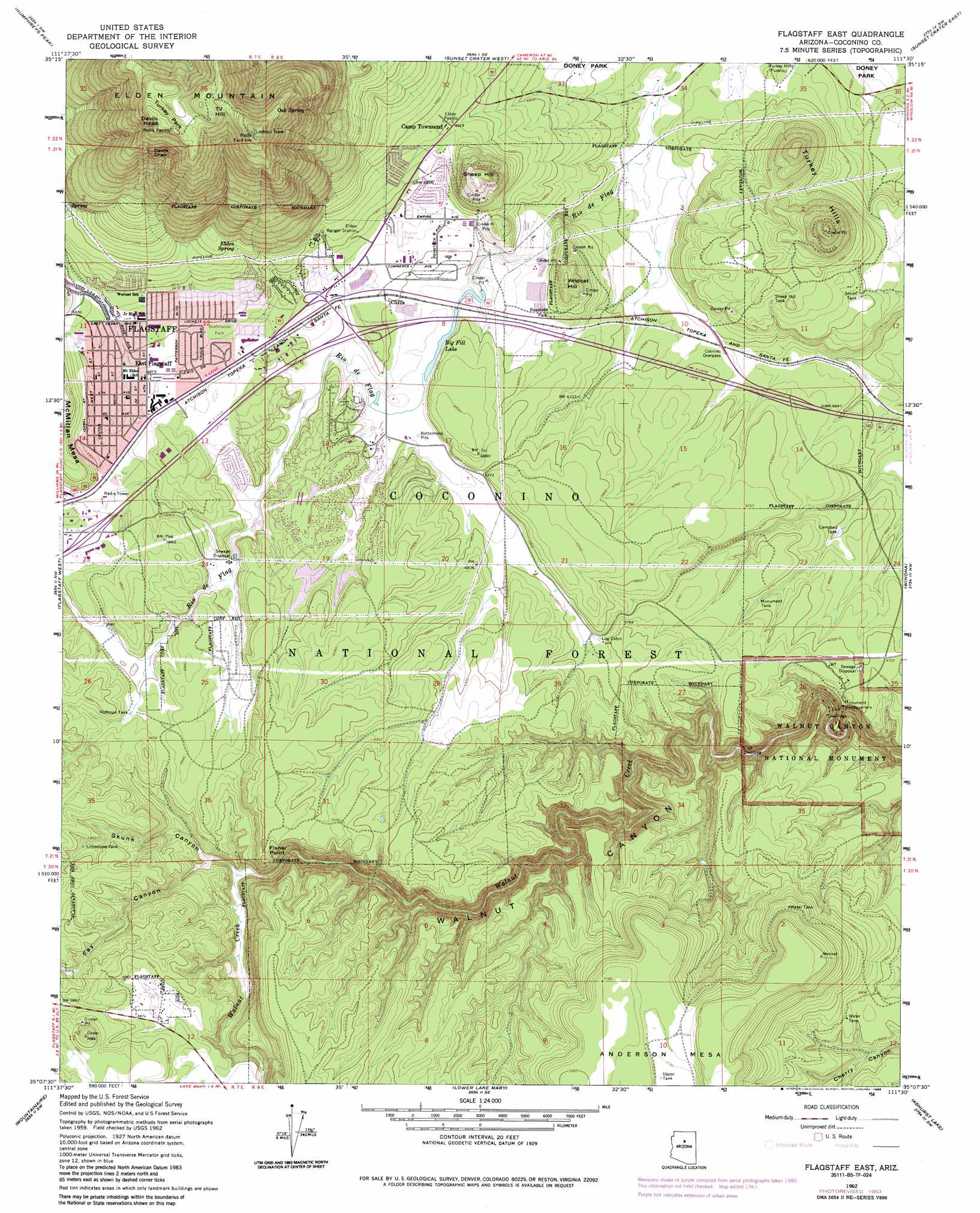 Flagstaff East Topographic Map AZ USGS Topo Quad B - Us topogragphical map