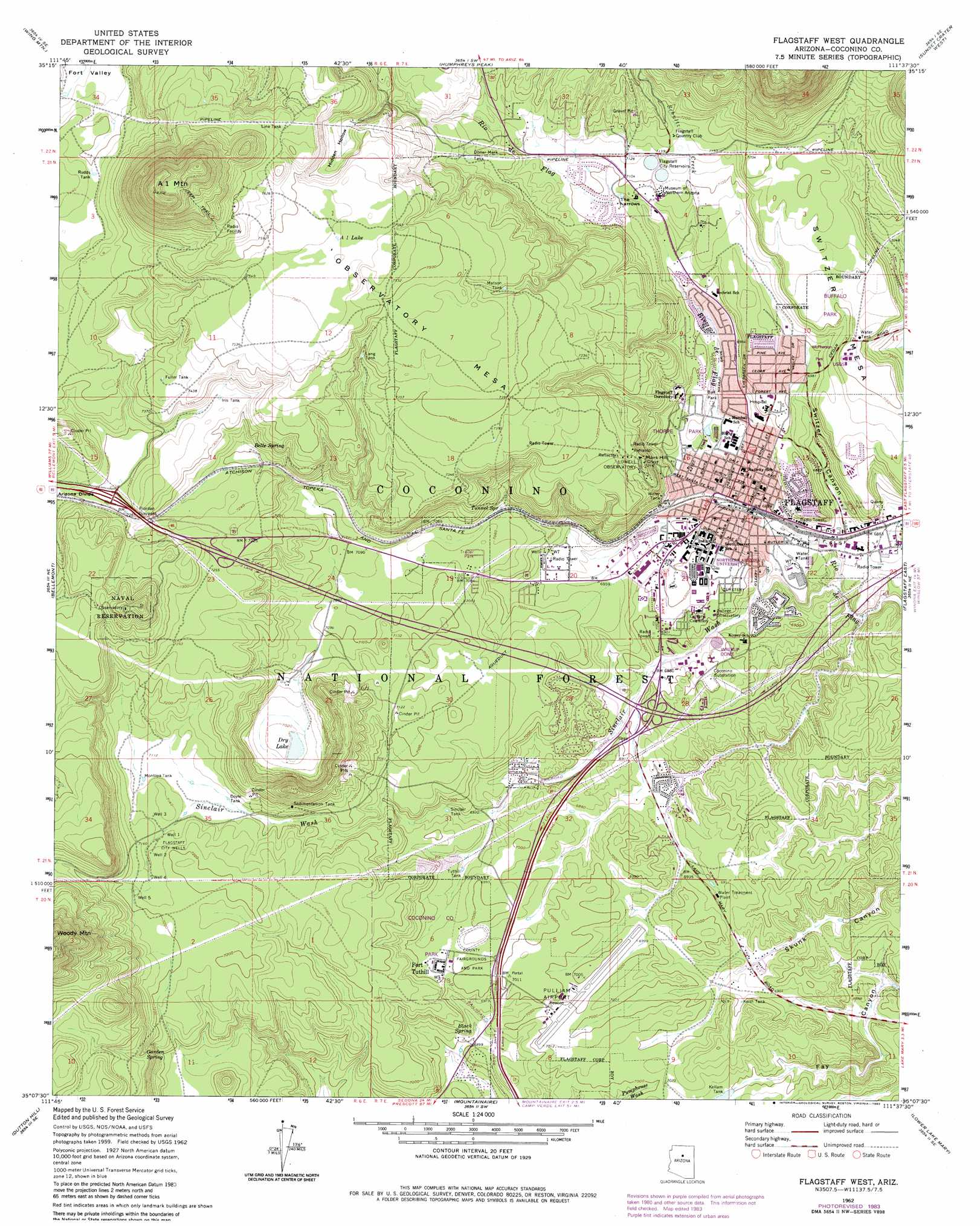 Flagstaff West Topographic Map AZ  USGS Topo Quad 35111b6