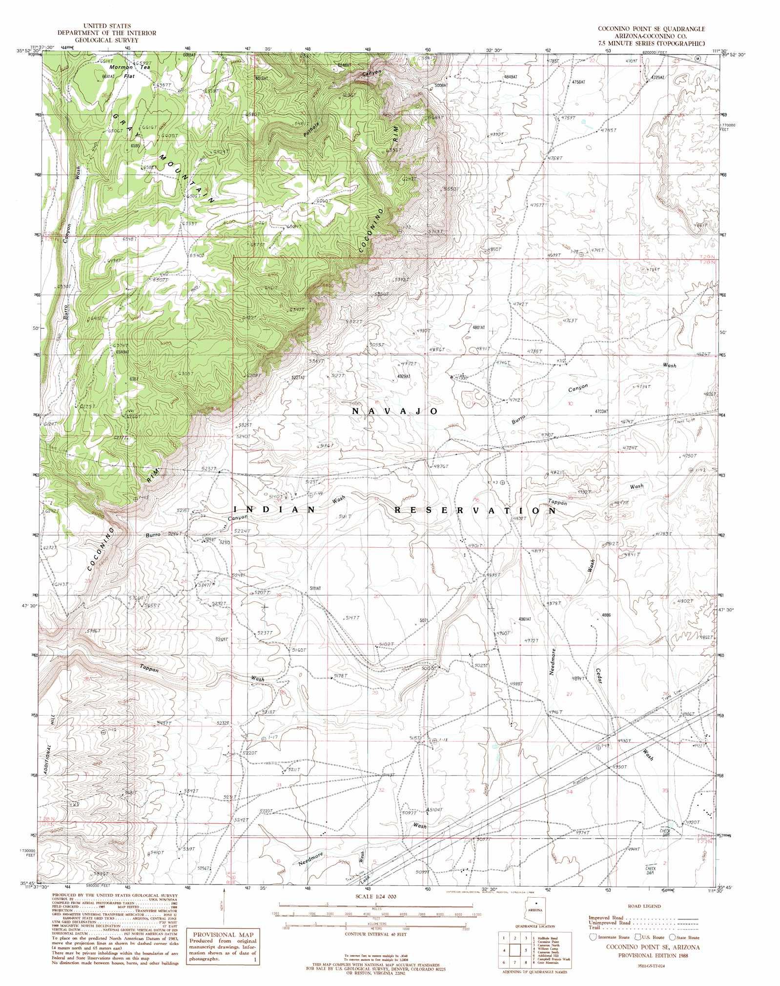 Coconino Point Se topographic map, AZ - USGS Topo Quad 35111g5