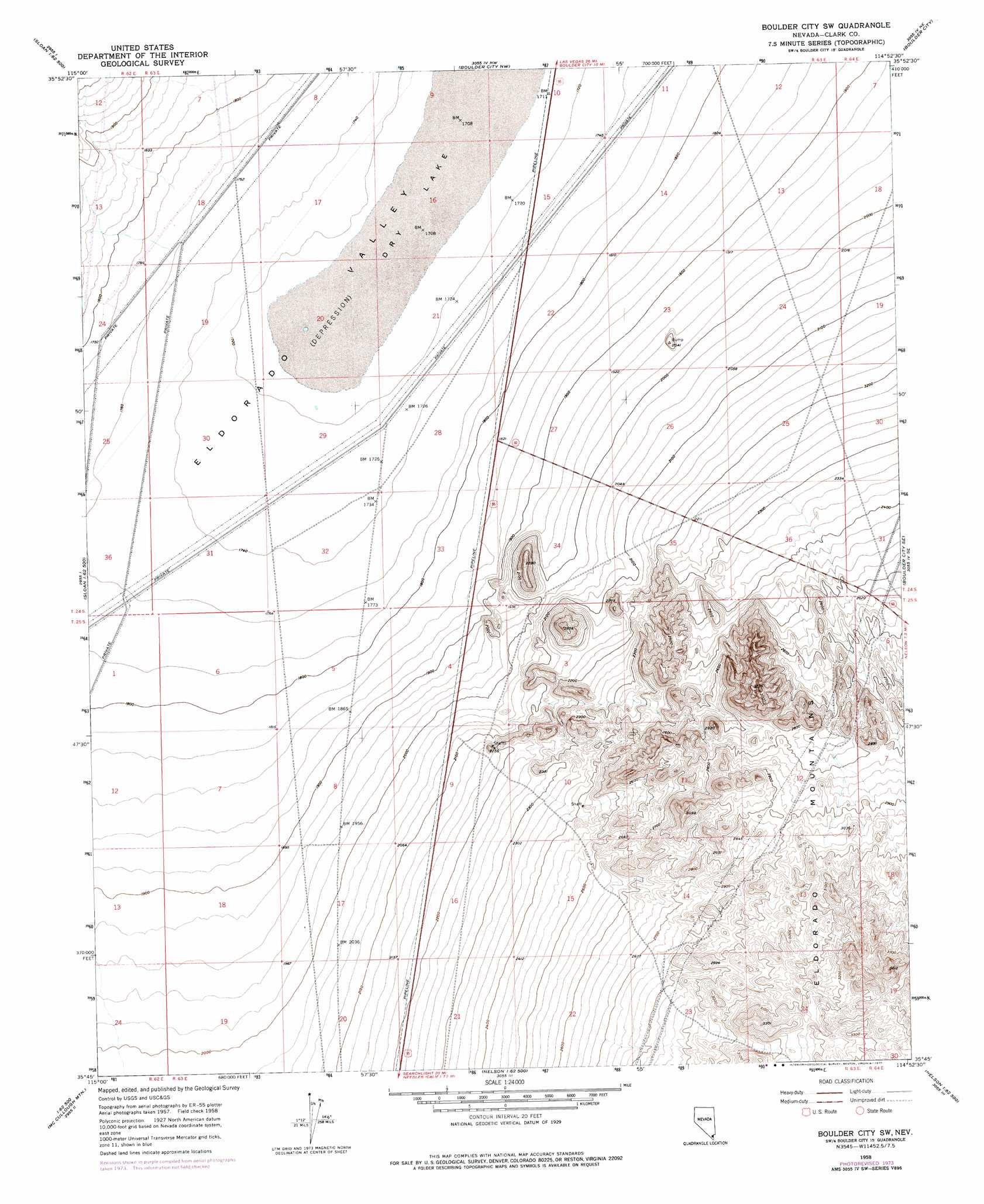 Boulder City Sw Topographic Map NV  USGS Topo Quad 35114g8