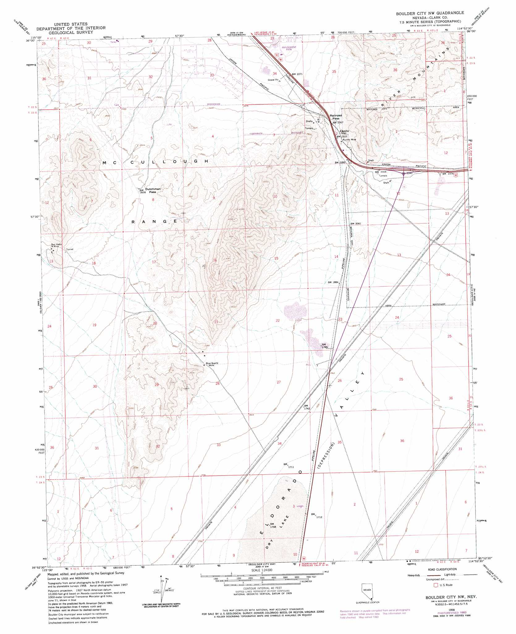 Boulder City Nw Topographic Map NV  USGS Topo Quad 35114h8