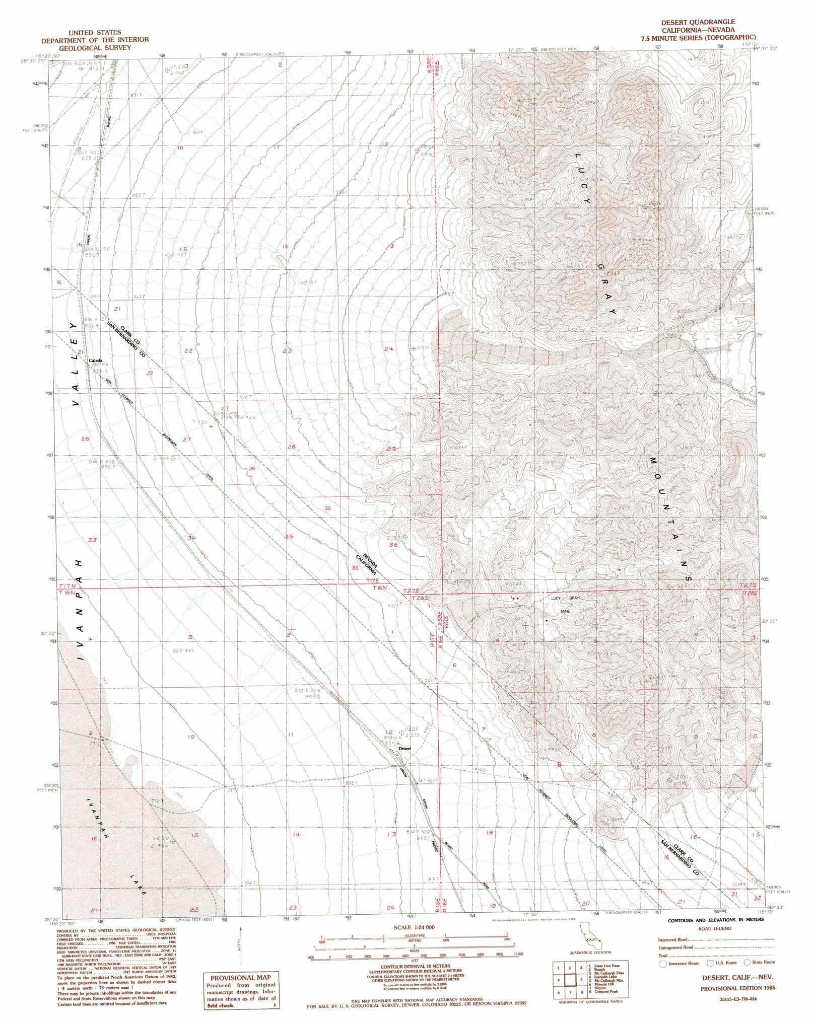 Desert topographic map NV CA  USGS Topo Quad 35115e3