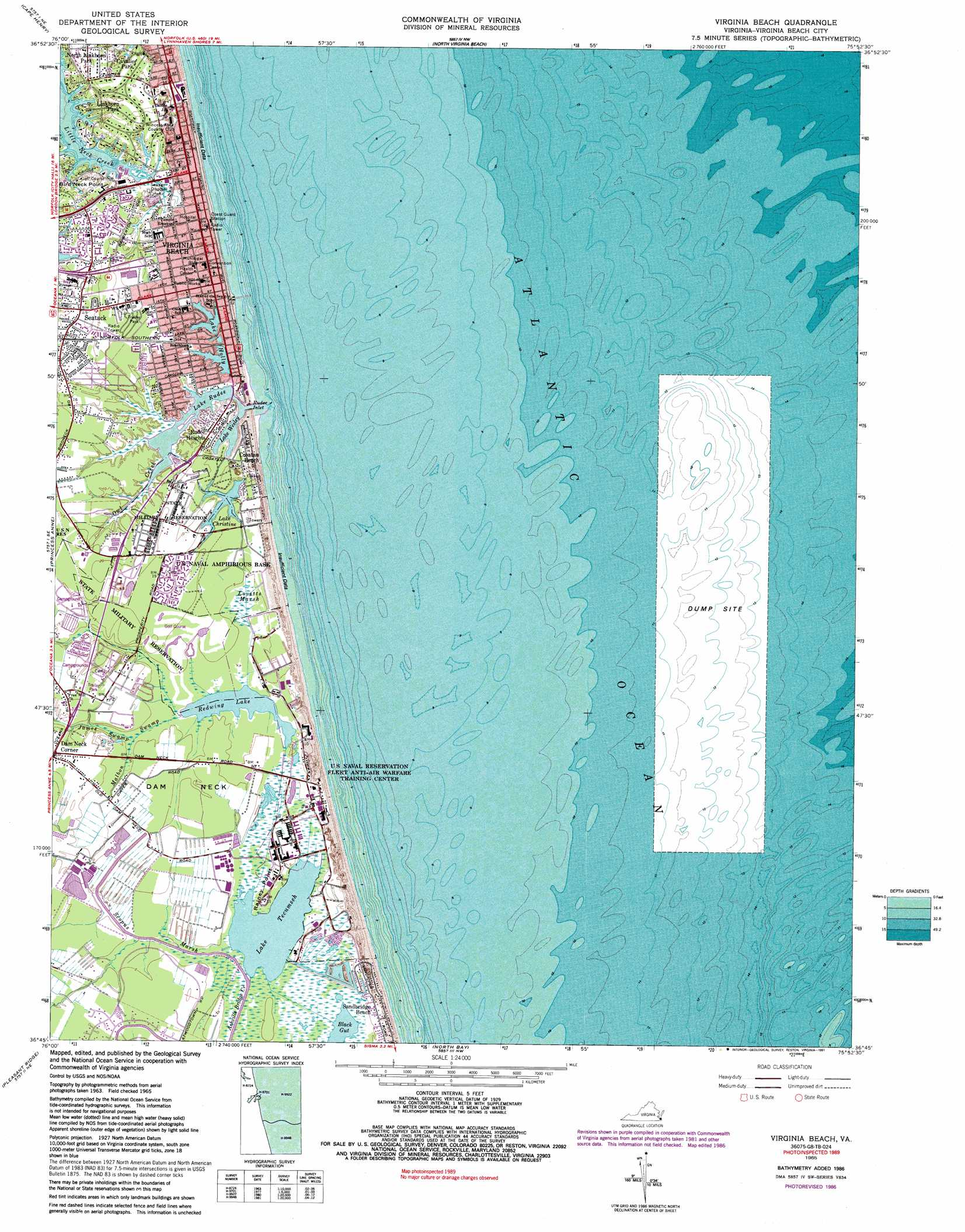Virginia Beach topographic map VA USGS Topo Quad 36075g8