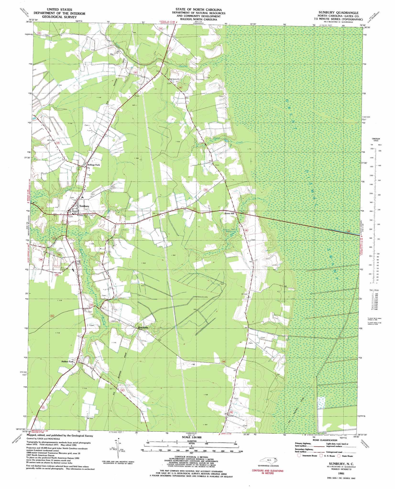 Sunbury topographic map NC USGS Topo Quad 36076d5